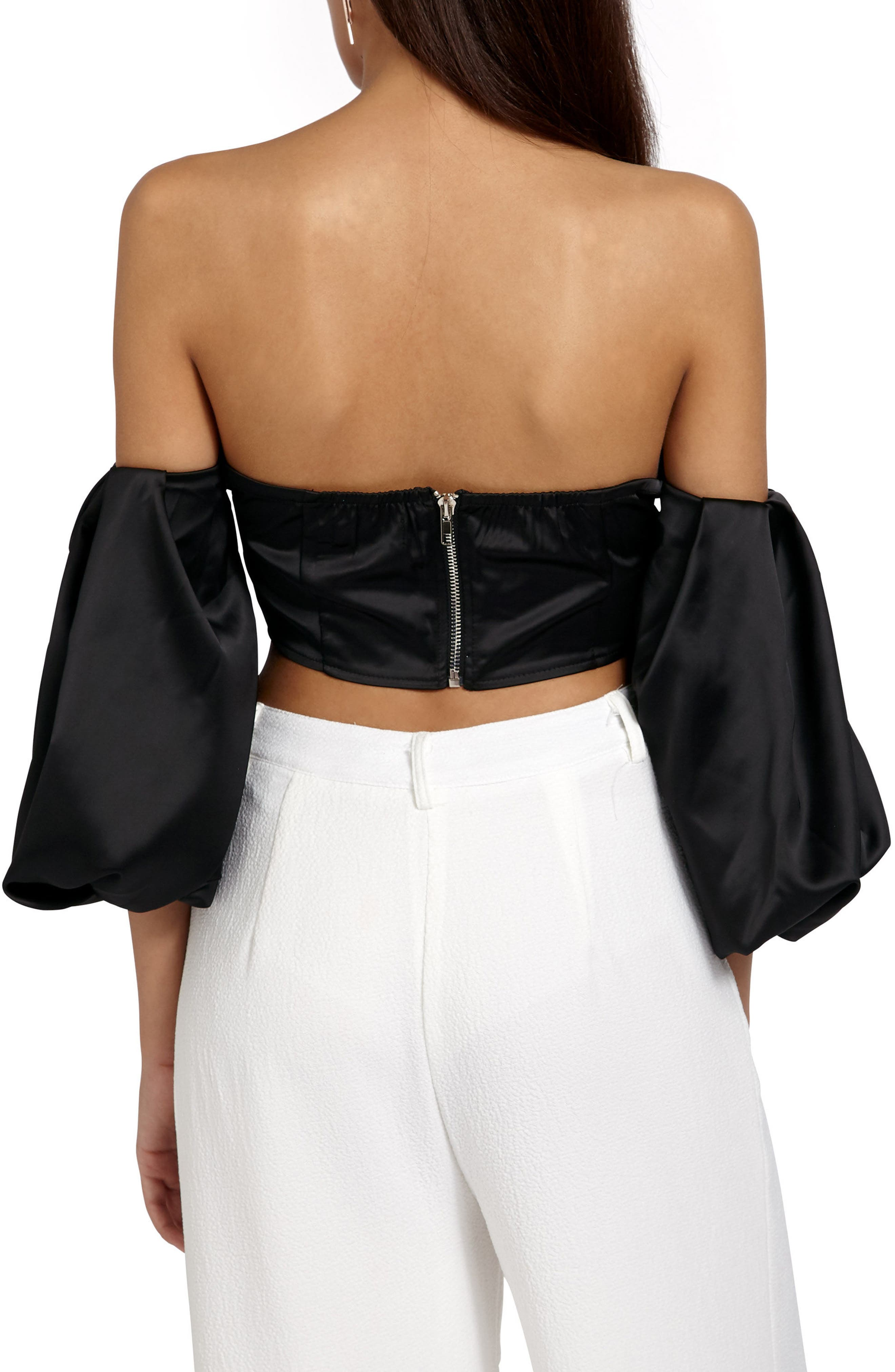 Off the Shoulder Crop Top,                             Alternate thumbnail 2, color,                             Black