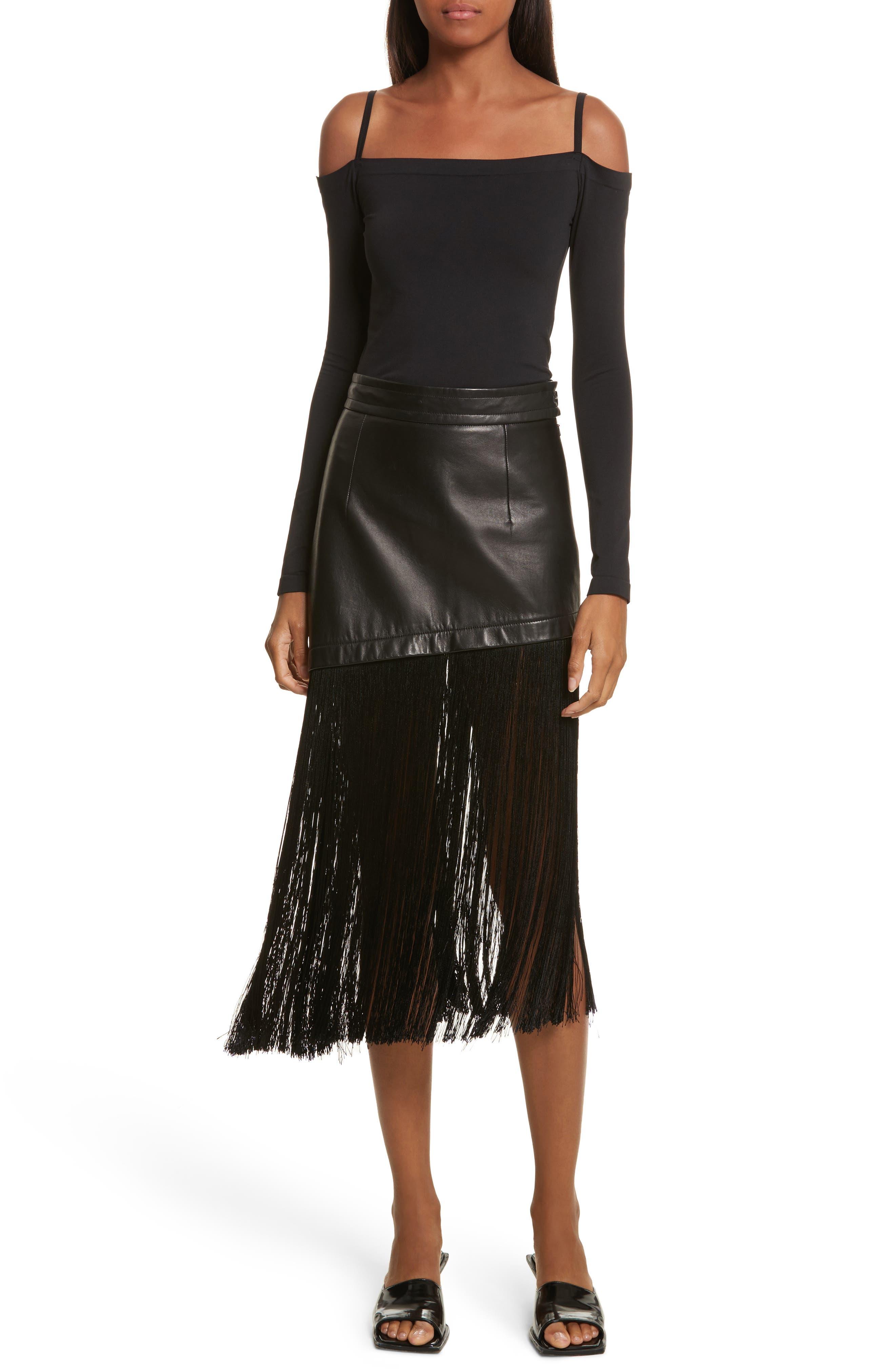 Alternate Image 7  - Helmut Lang Fringe Hem Leather Miniskirt