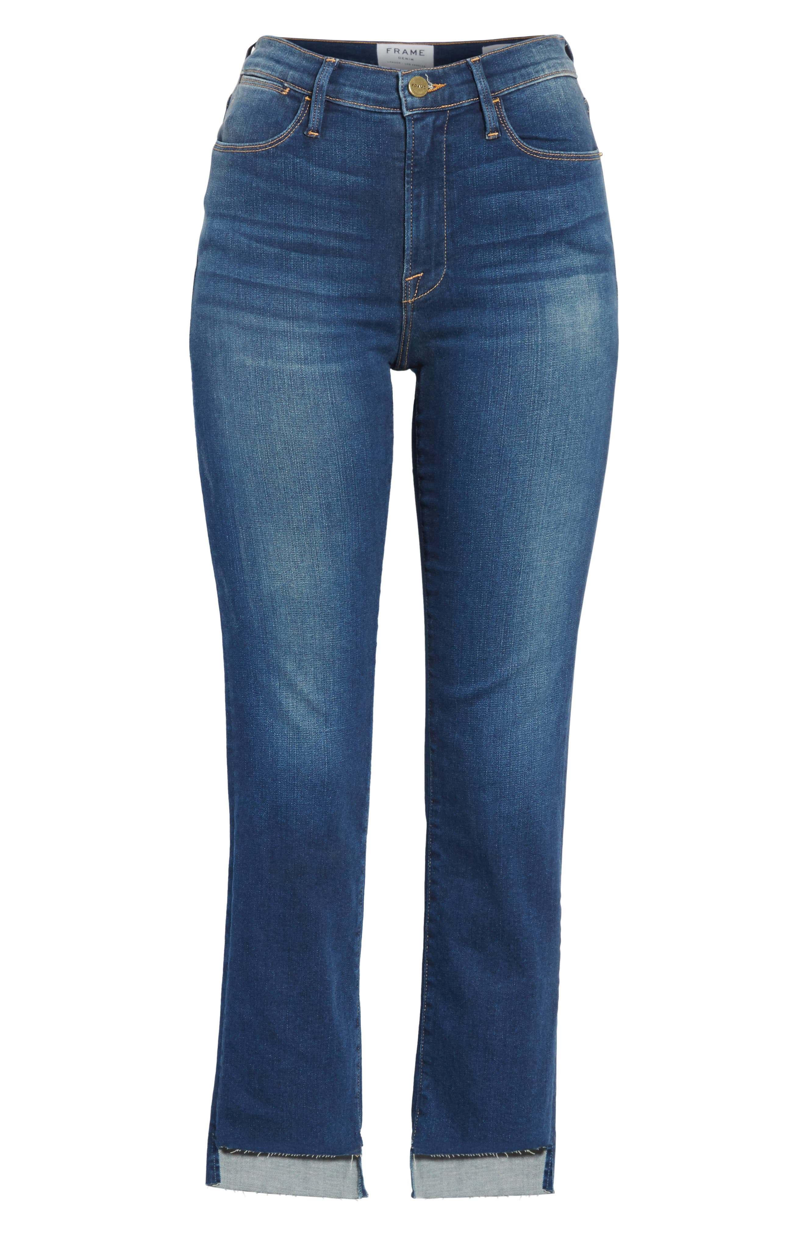 Le High Straight High Waist Raw Stagger Jeans,                             Alternate thumbnail 7, color,                             Murrayfield