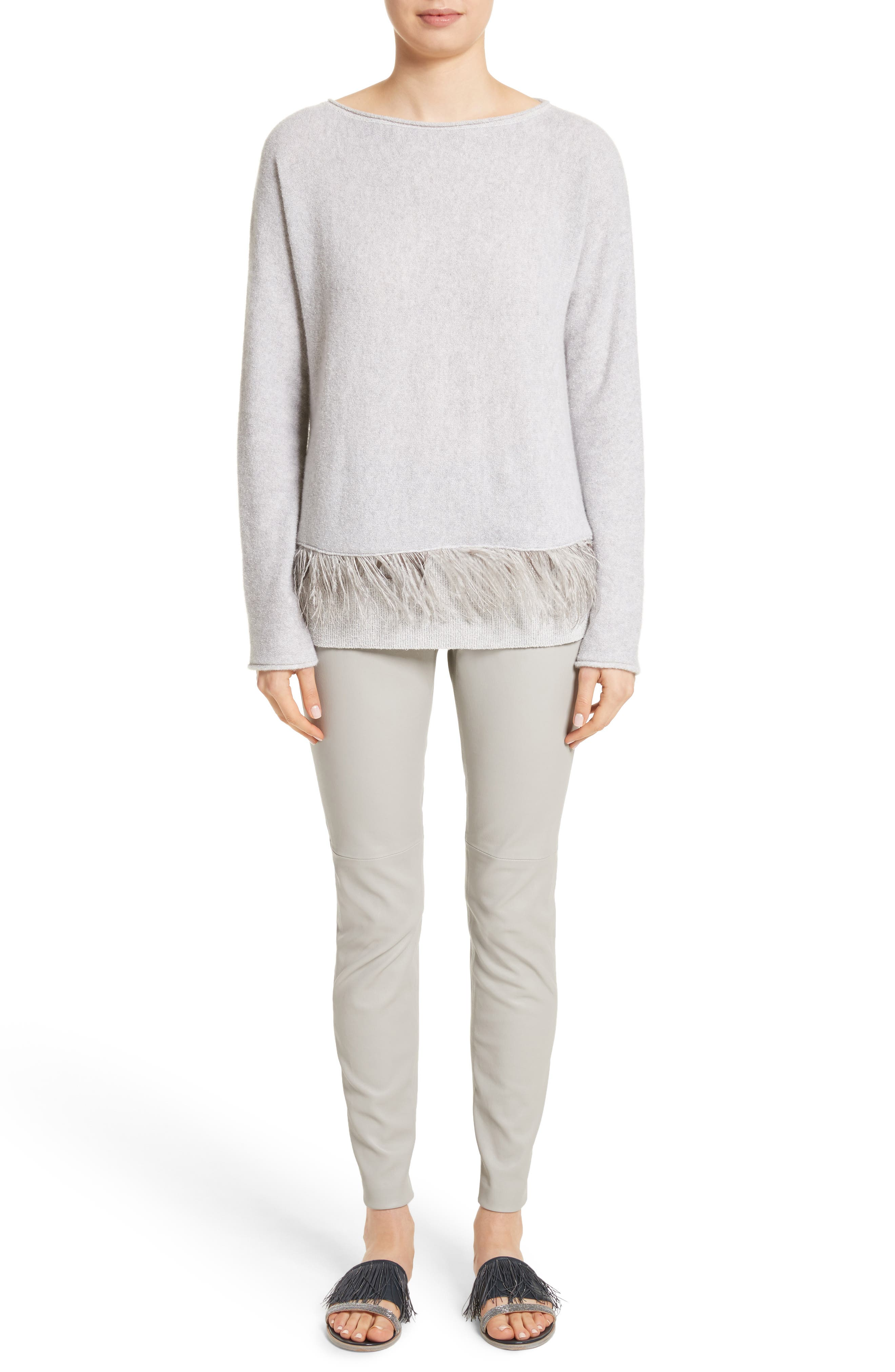 Cashmere Blend Sweater with Genuine Ostrich & Turkey Feather Trim,                             Alternate thumbnail 8, color,                             Grey