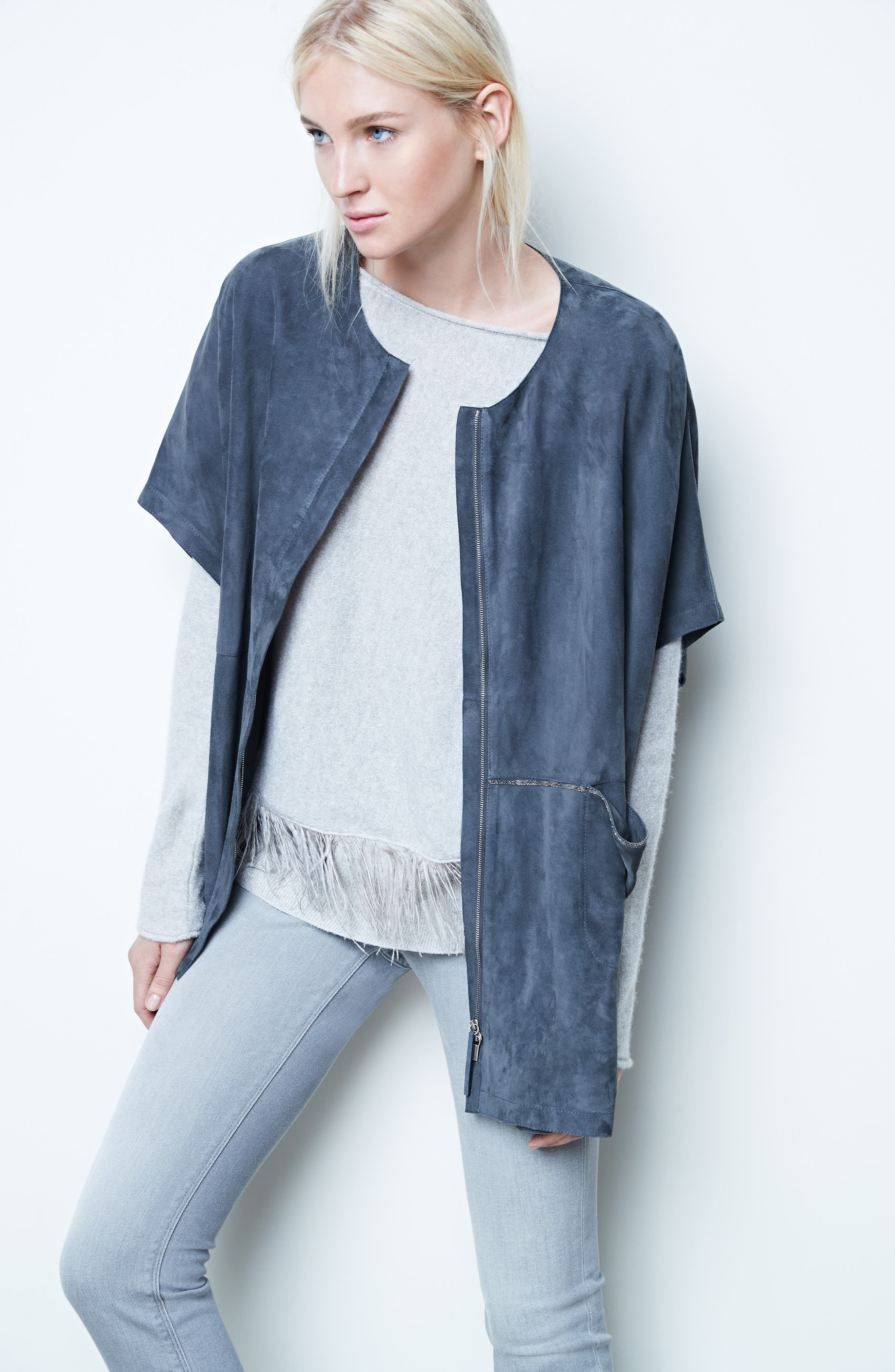 Beaded Suede Poncho,                             Alternate thumbnail 2, color,                             Slate