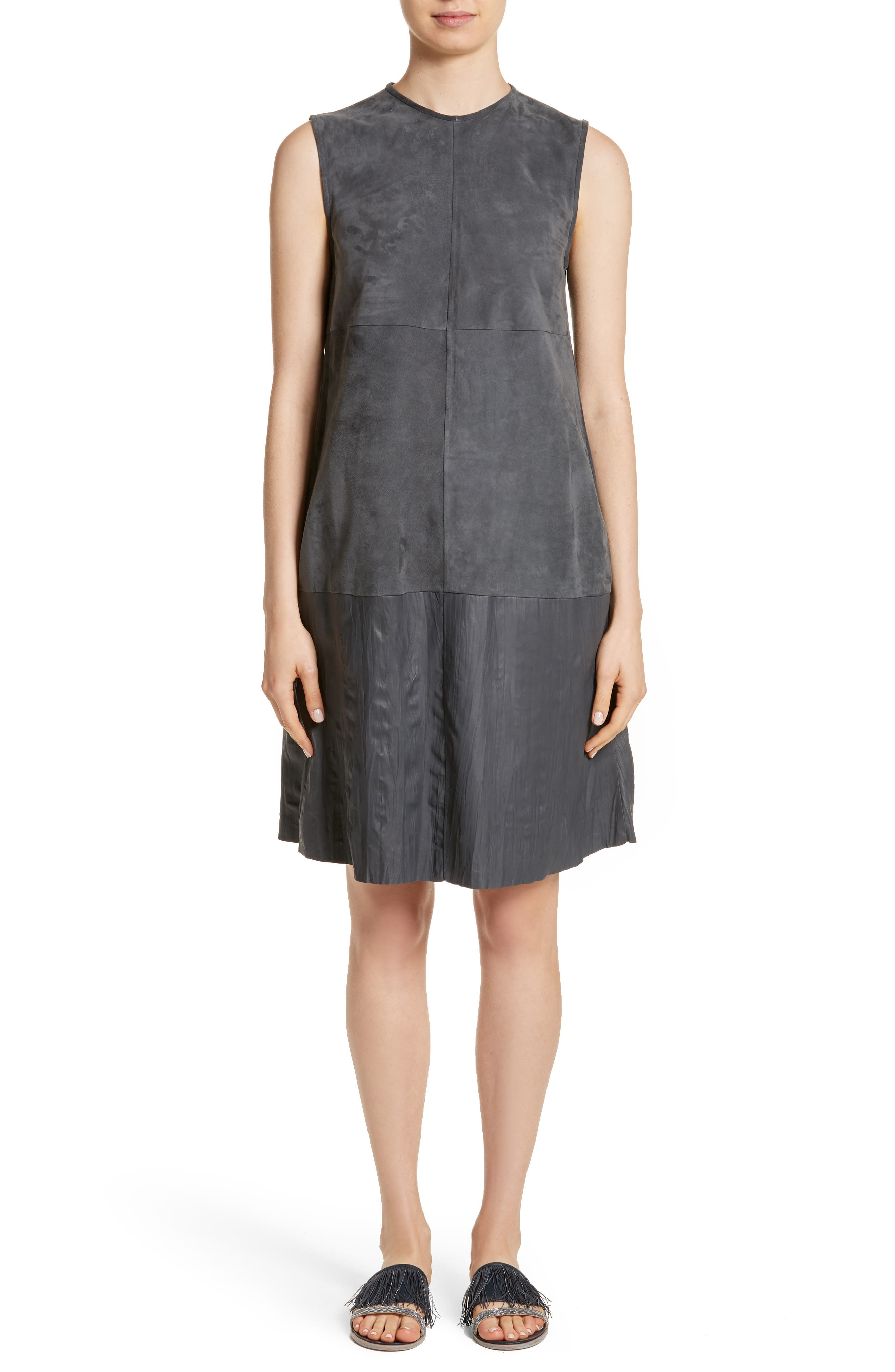 Suede & Crinkled Leather Dress,                         Main,                         color, Slate
