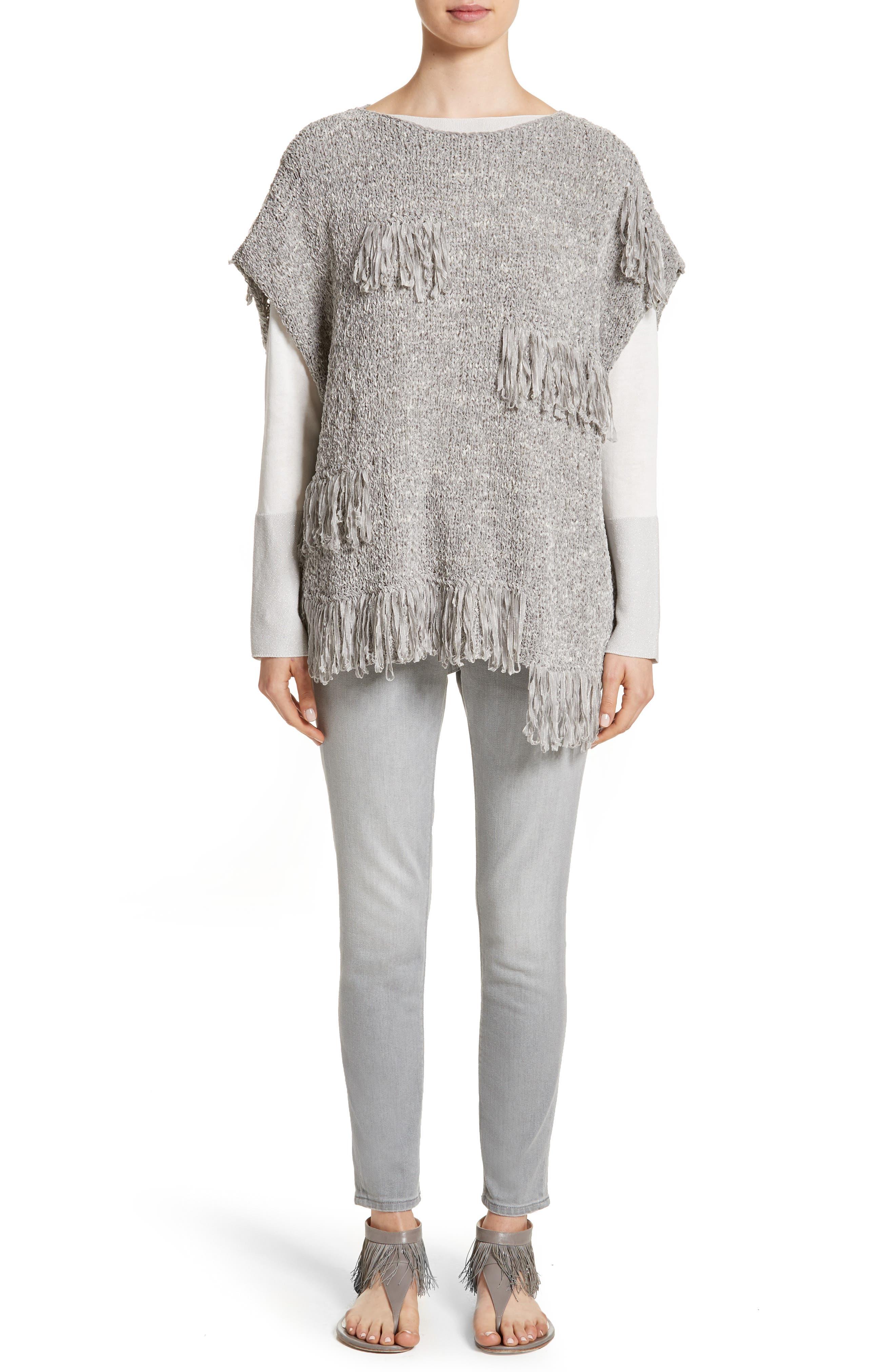 Alternate Image 7  - Fabiana Filippi Fringe Chenille Knit Poncho Sweater