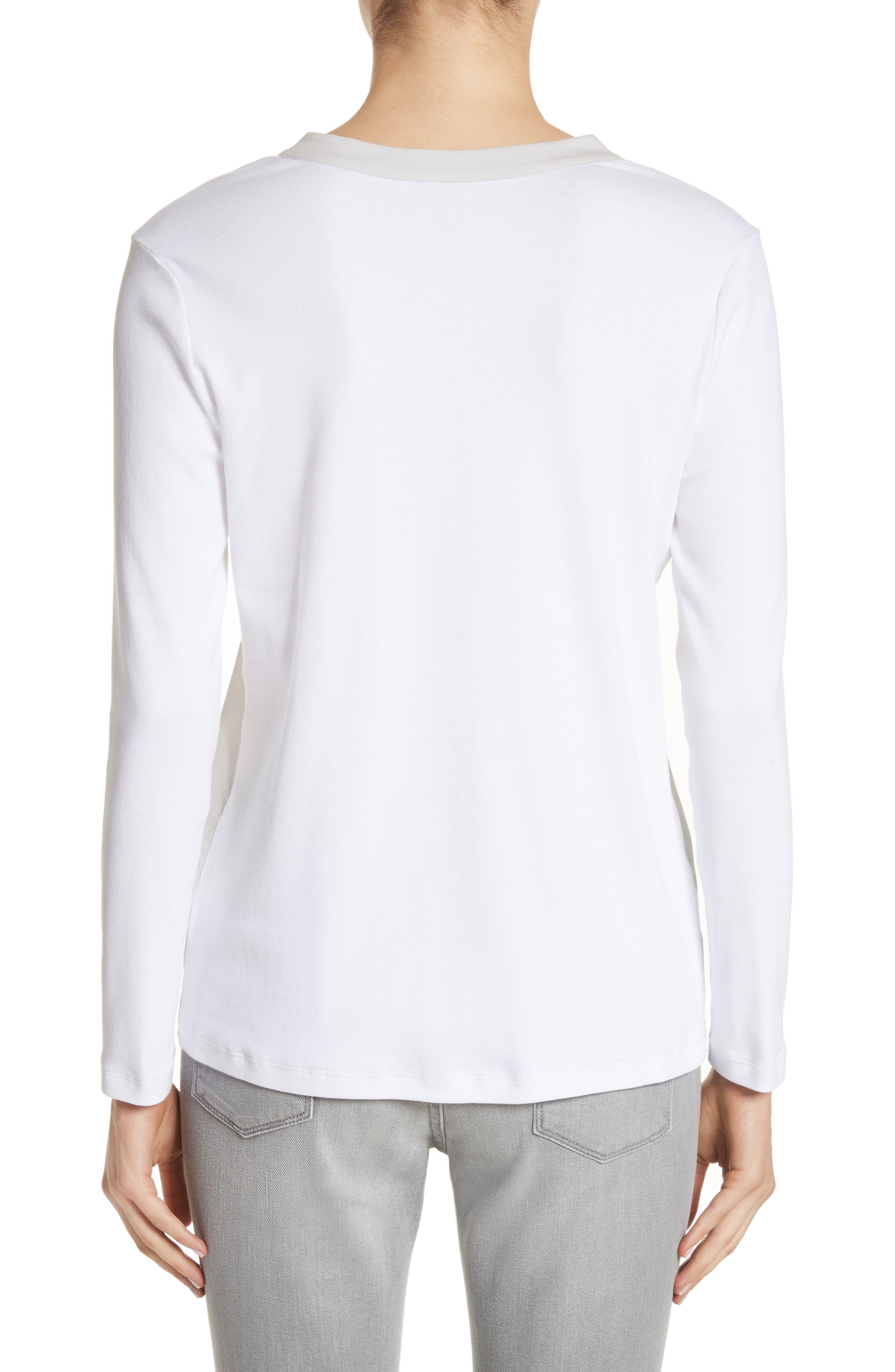 Crêpe de Chine & Ribbed Jersey Blouse,                             Alternate thumbnail 2, color,                             Pearl Grey