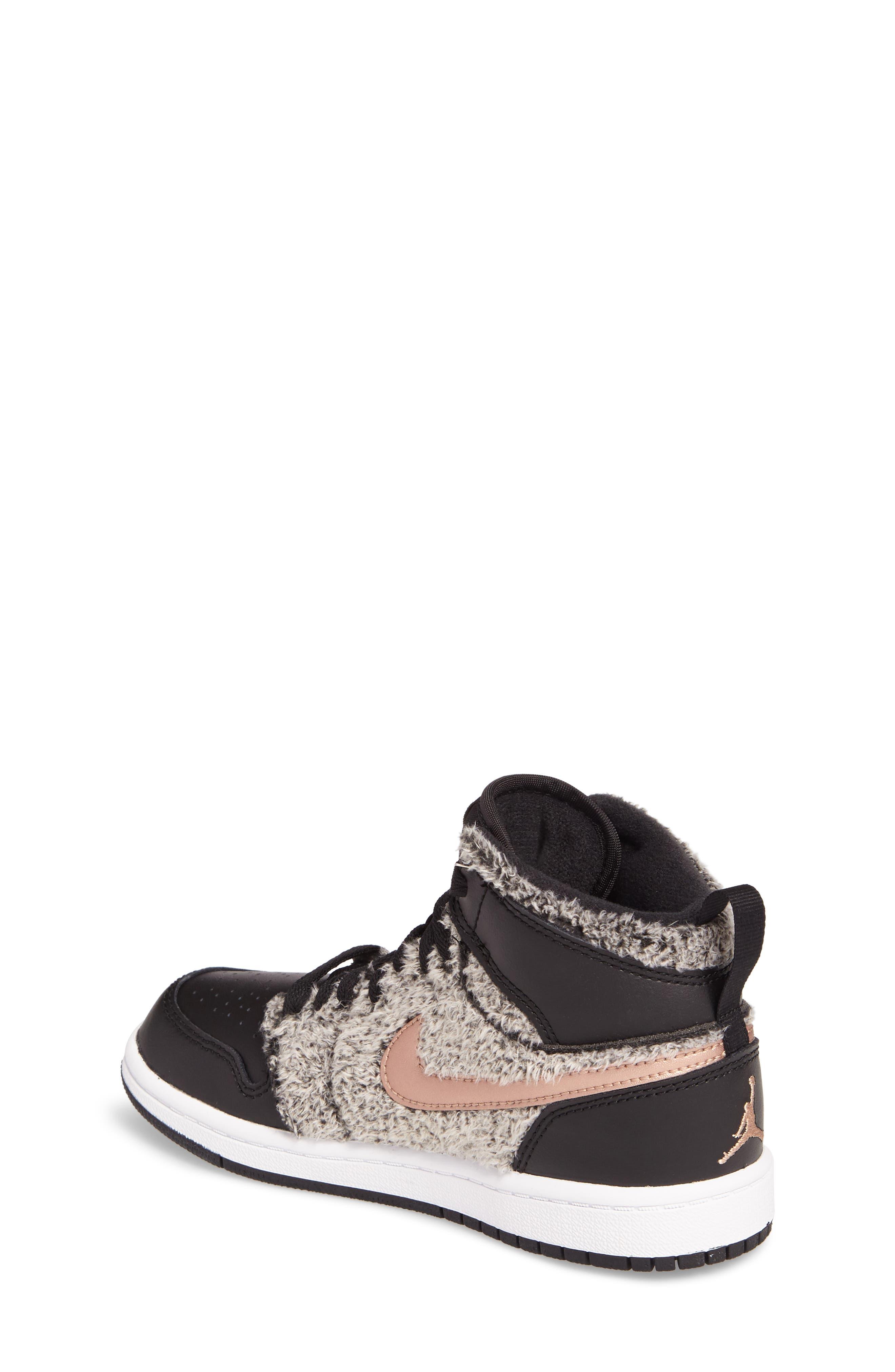 Alternate Image 2  - Nike Air Jordan 1 Retro Faux Fur High Top Sneaker (Toddler, Little Kid & Big Kid)