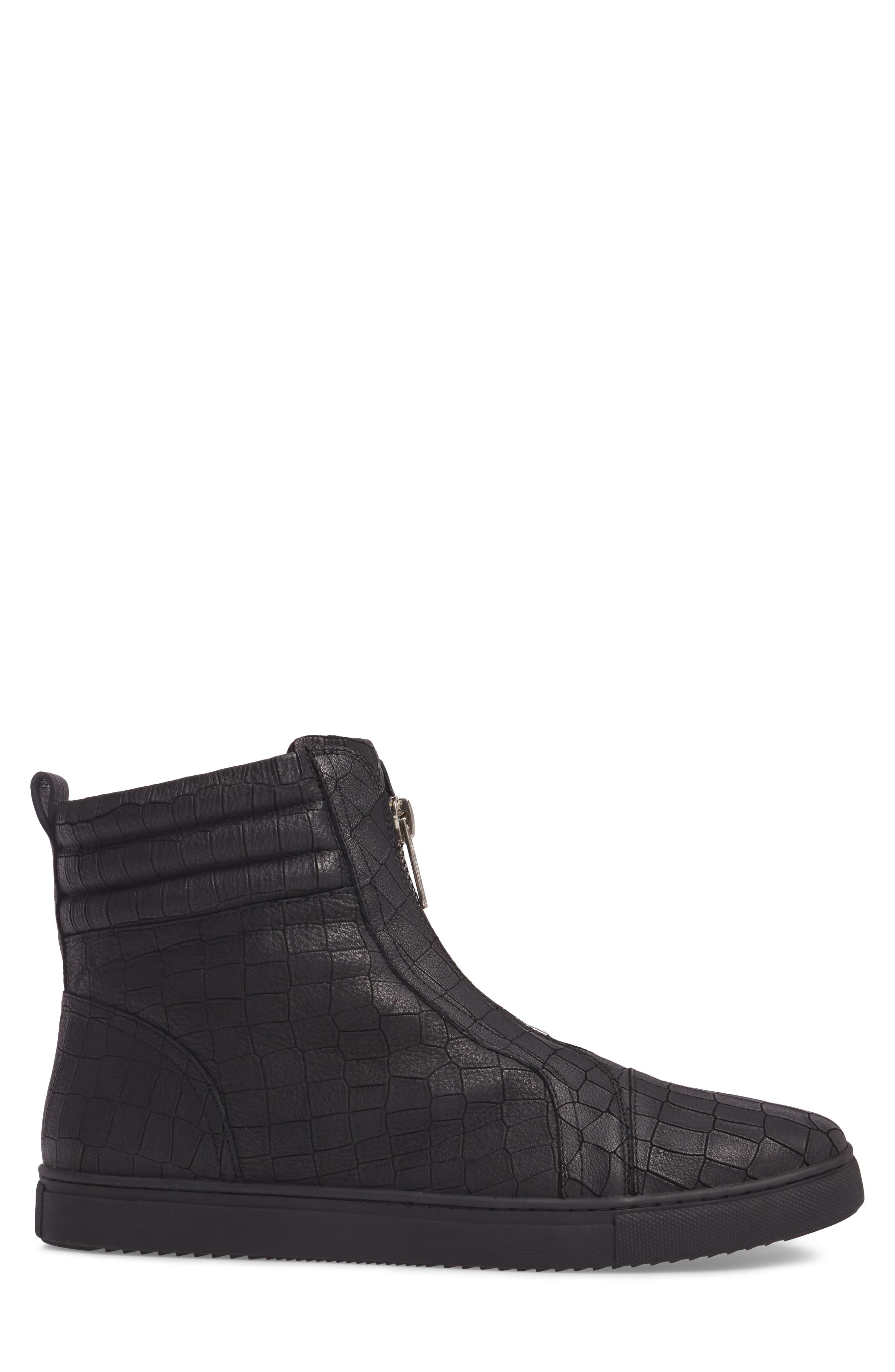 Hip & Bone Zip Boot,                             Alternate thumbnail 3, color,                             Black Croc Leather