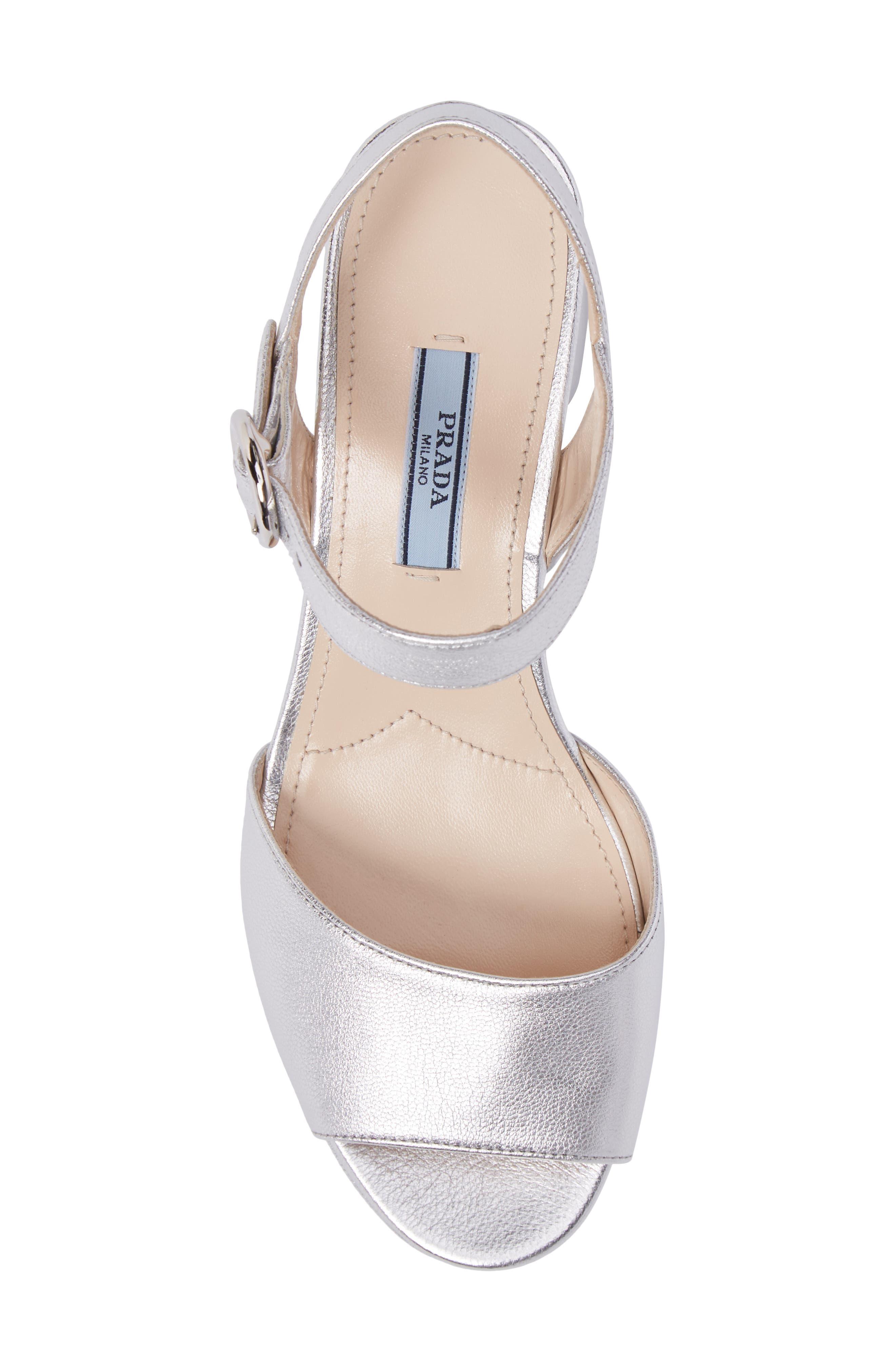 Ankle Strap Platform Sandal,                             Alternate thumbnail 5, color,                             Silver
