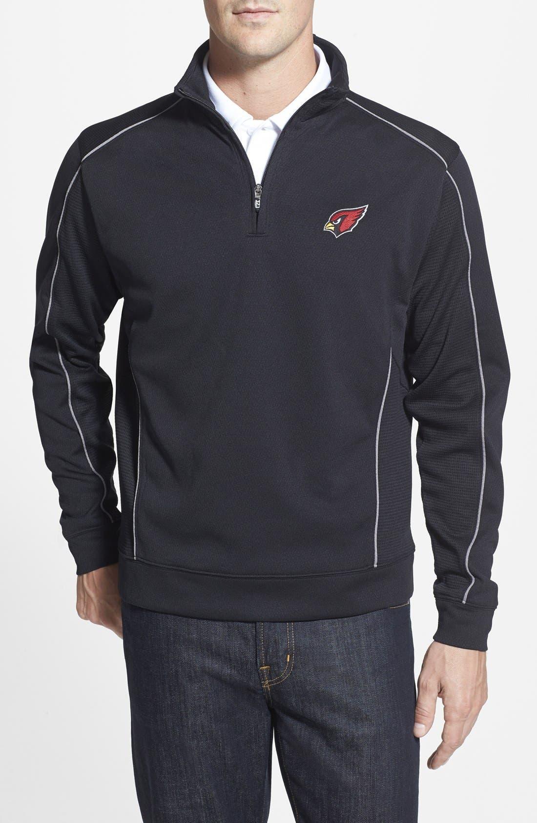 Arizona Cardinals - Edge DryTec Moisture Wicking Half Zip Pullover,                             Main thumbnail 1, color,                             Black