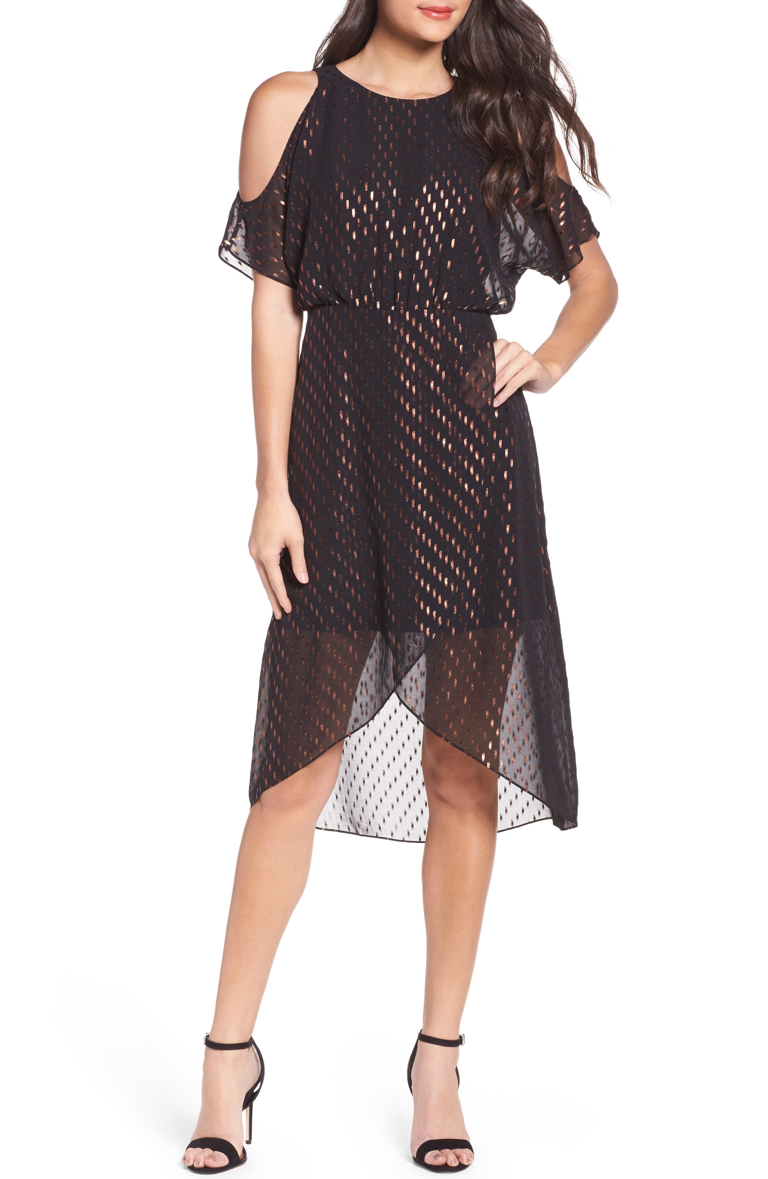 You Can't Handle All This Sparkle Cold Shoulder Dress,                         Main,                         color, Copper Shine
