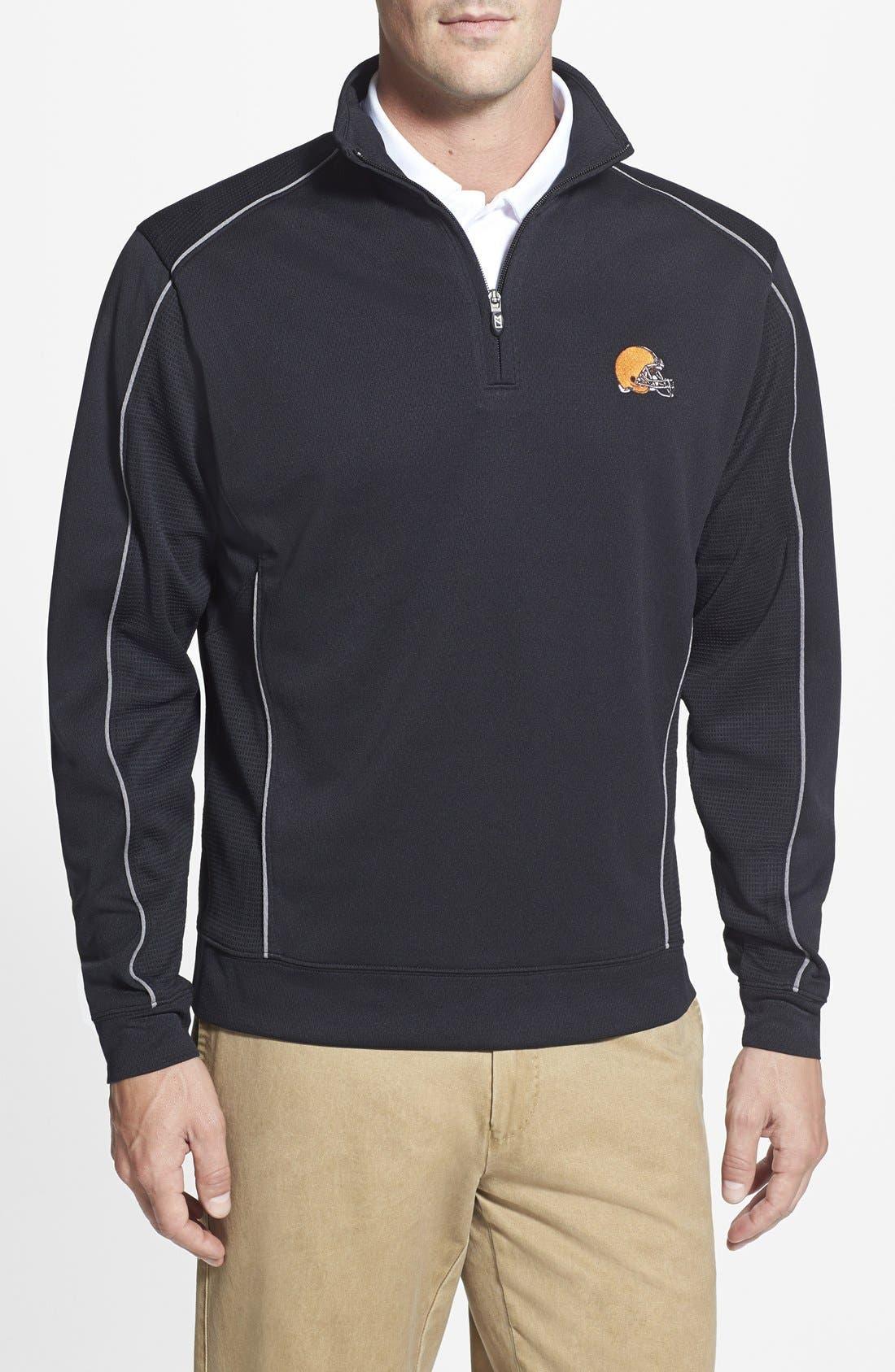 Main Image - Cutter & Buck Cleveland Browns - Edge DryTec Moisture Wicking Half Zip Pullover