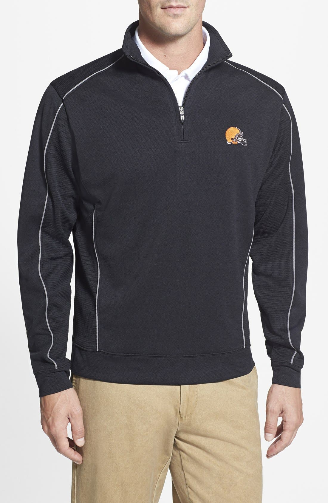 Cleveland Browns - Edge DryTec Moisture Wicking Half Zip Pullover,                         Main,                         color, Black