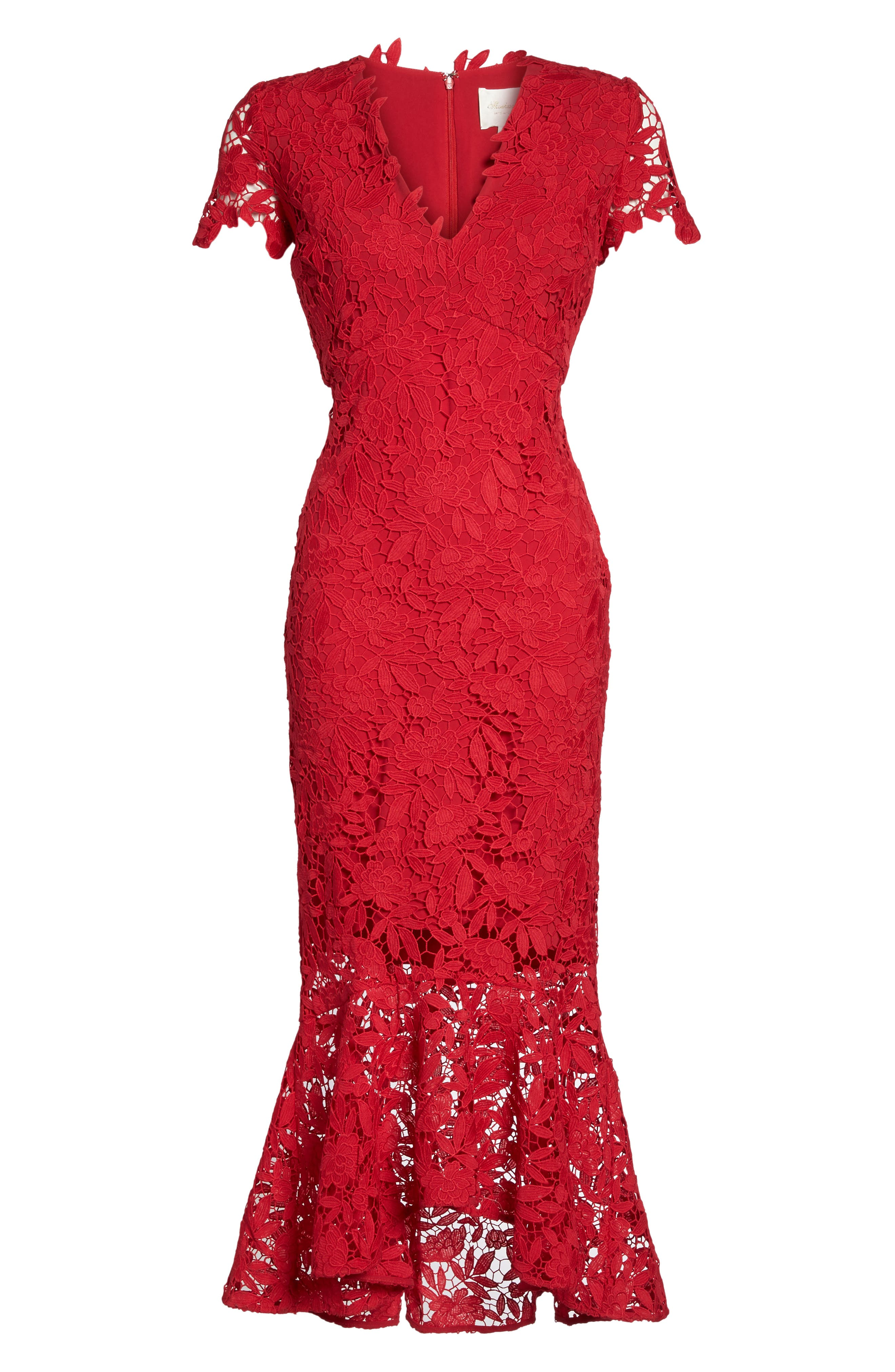 Floral Guipure High/Low Gown,                             Alternate thumbnail 6, color,                             Ruby