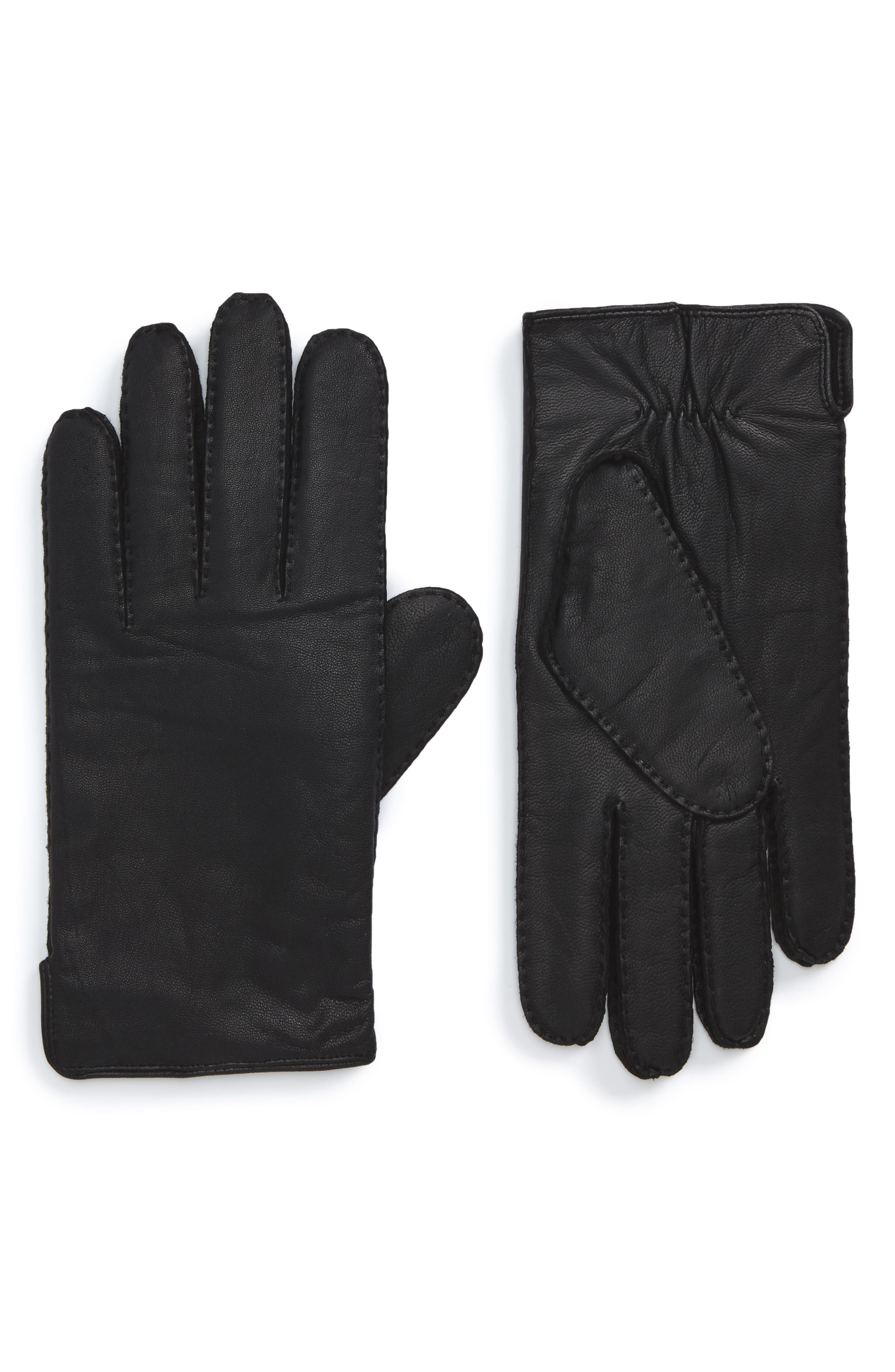 Kanton Leather Gloves,                         Main,                         color, Black