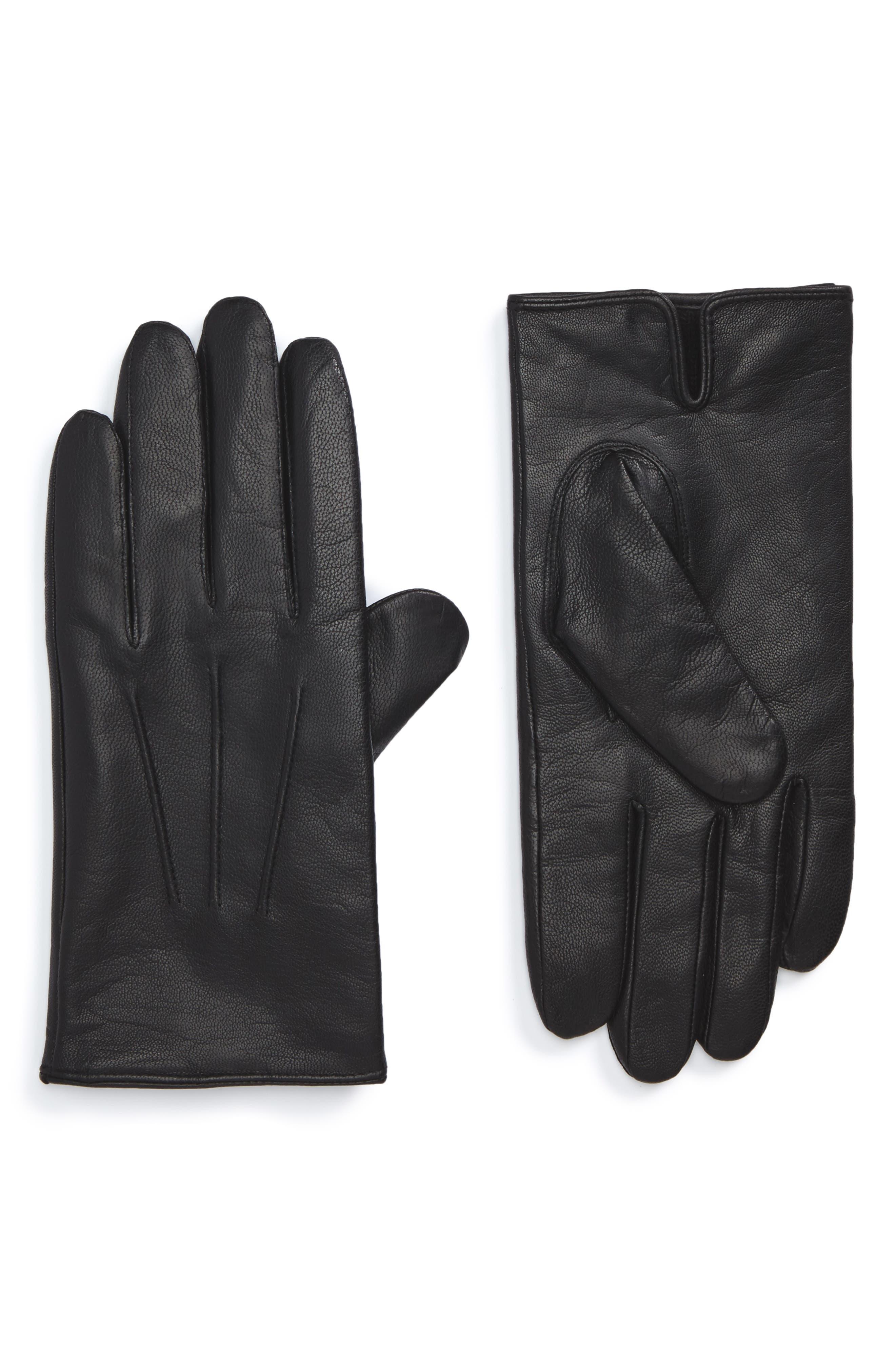 Hainz Leather Gloves,                         Main,                         color, Black