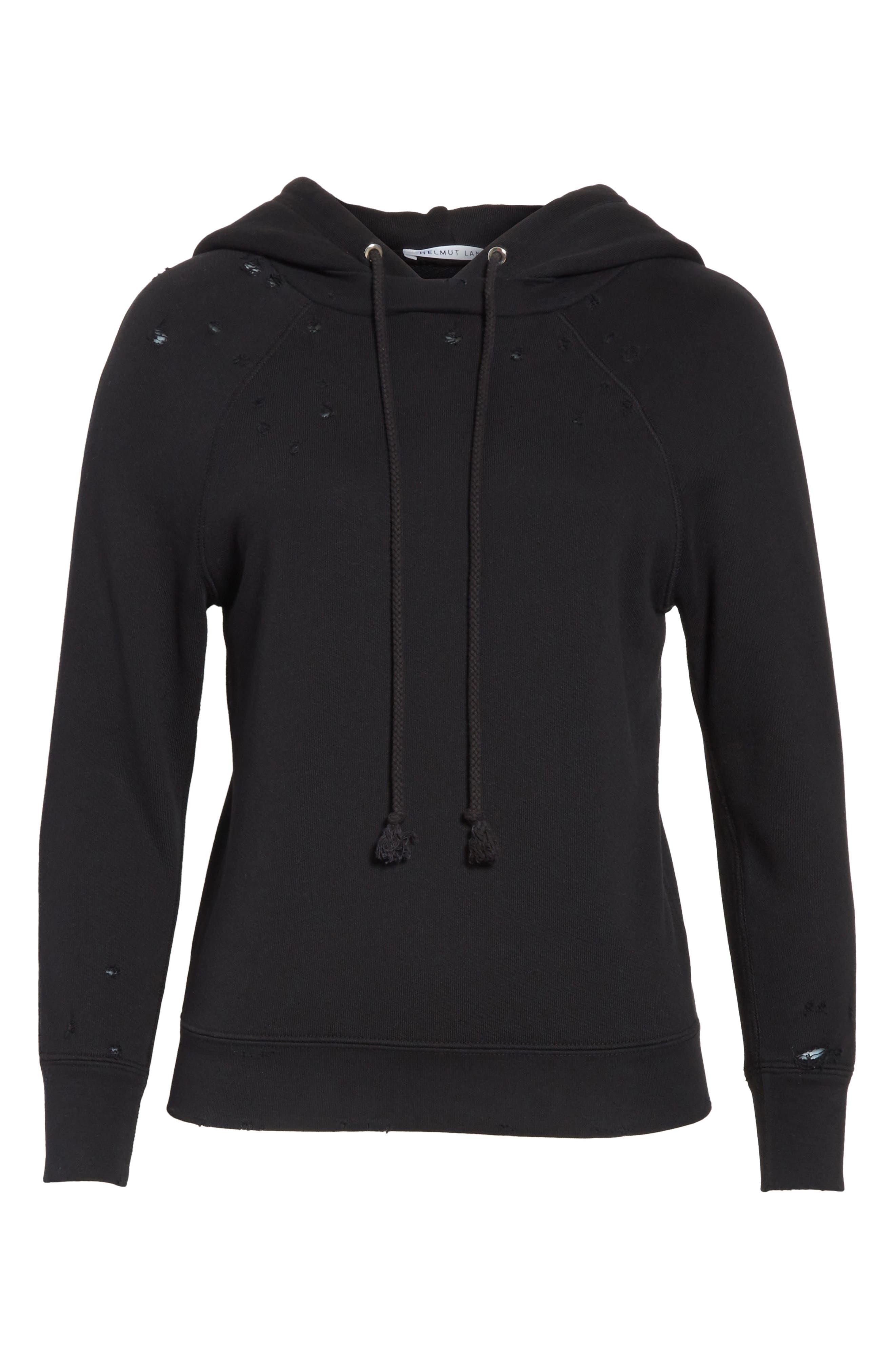 Shrunken Cotton Sweatshirt,                             Alternate thumbnail 6, color,                             Black