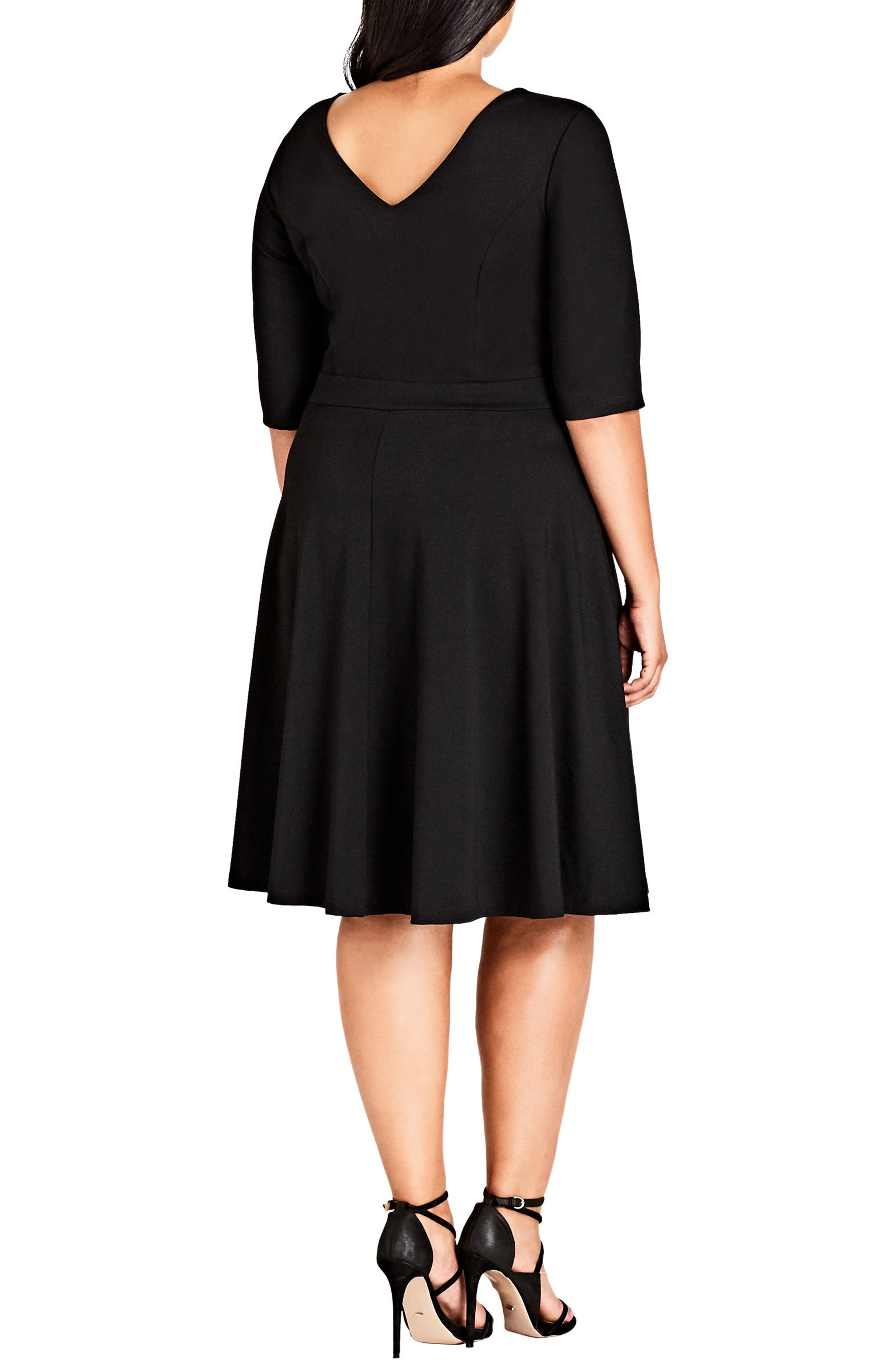 Alternate Image 2  - City Chic X Front Skater Dress (Plus Size)