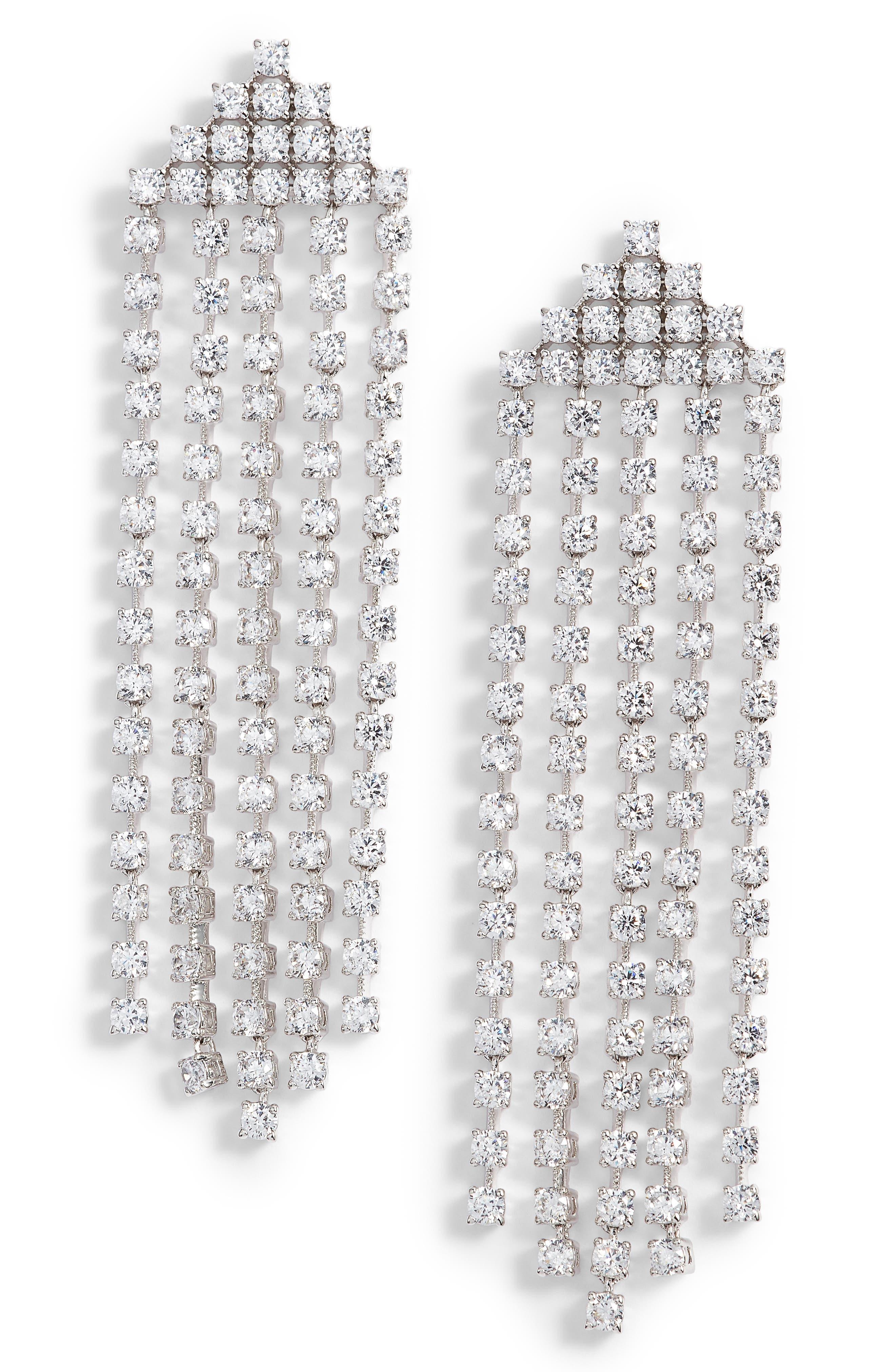 Alternate Image 1 Selected - Nadri Rio Cubic Zirconia Fringe Earrings