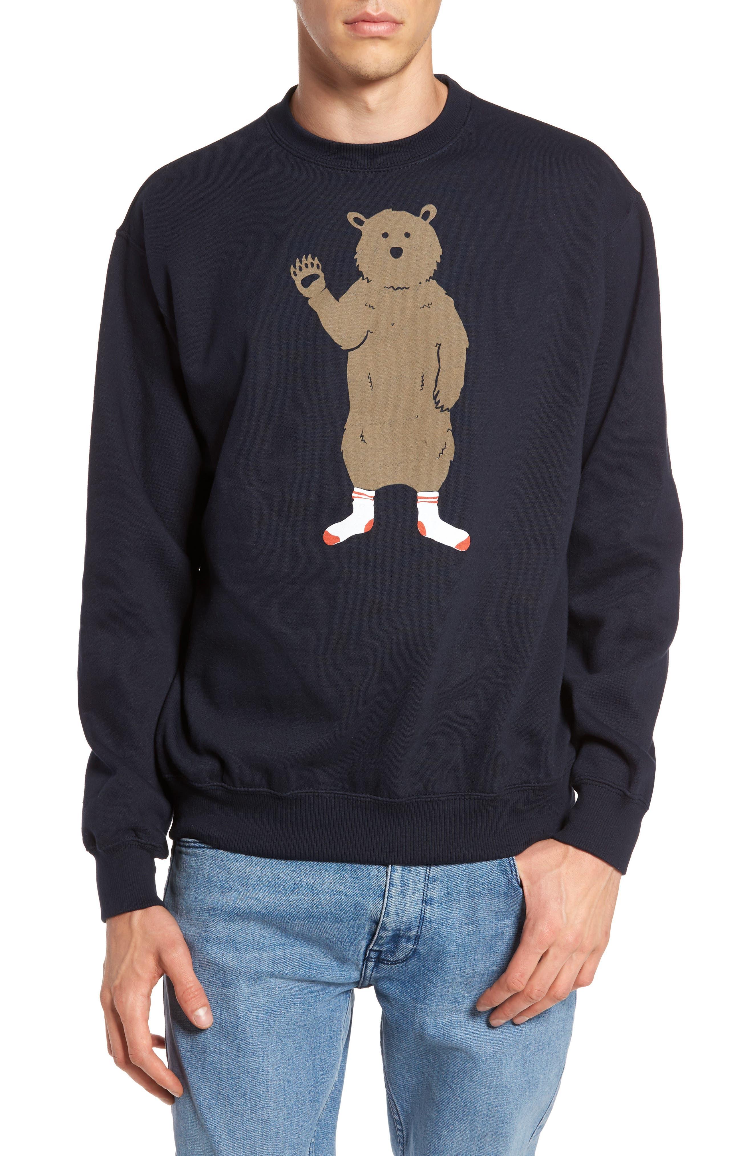 Bear in Socks Sweatshirt,                         Main,                         color, Navy