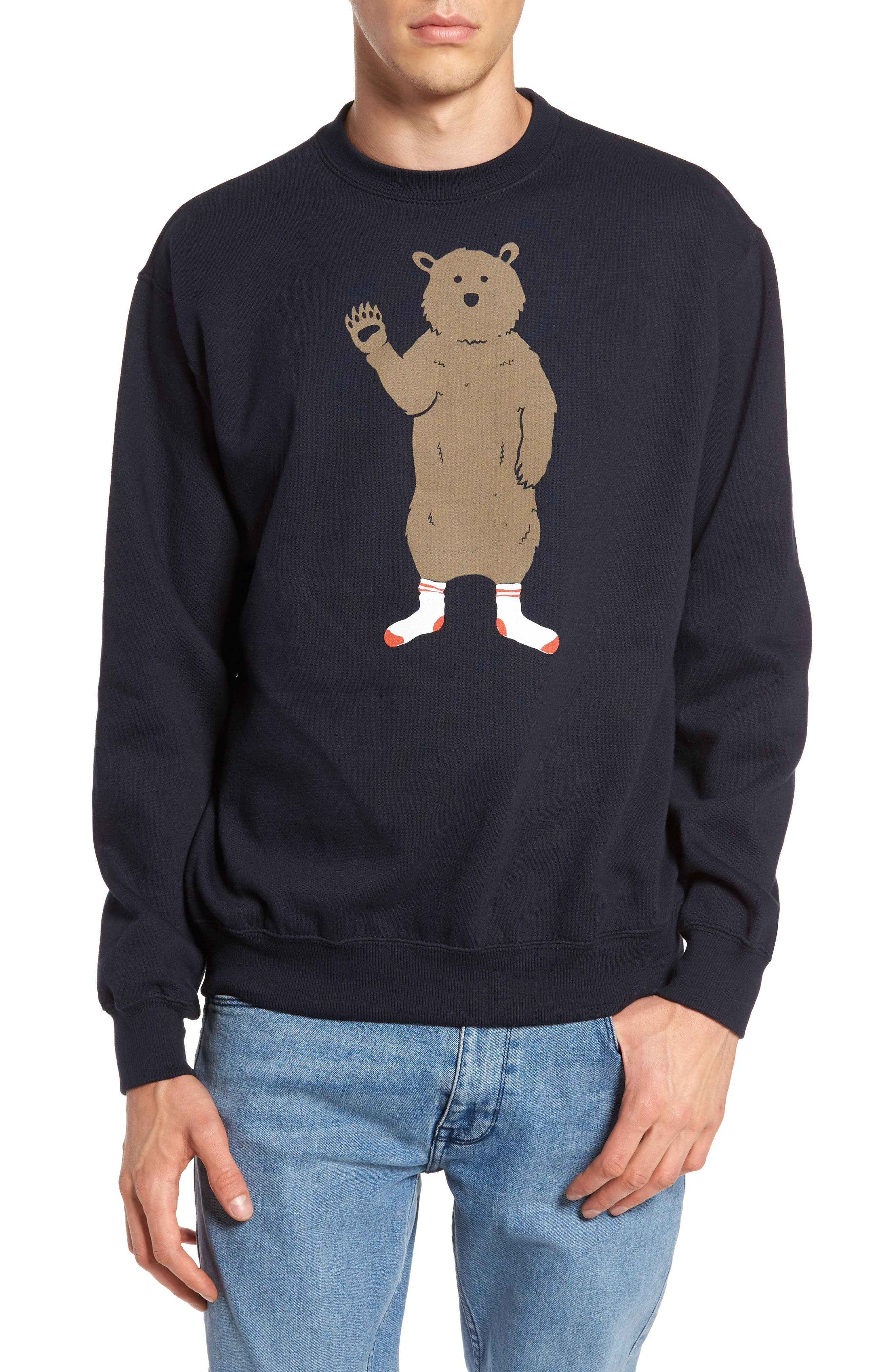 Bear in Socks Sweatshirt,                         Main,                         color, Navy