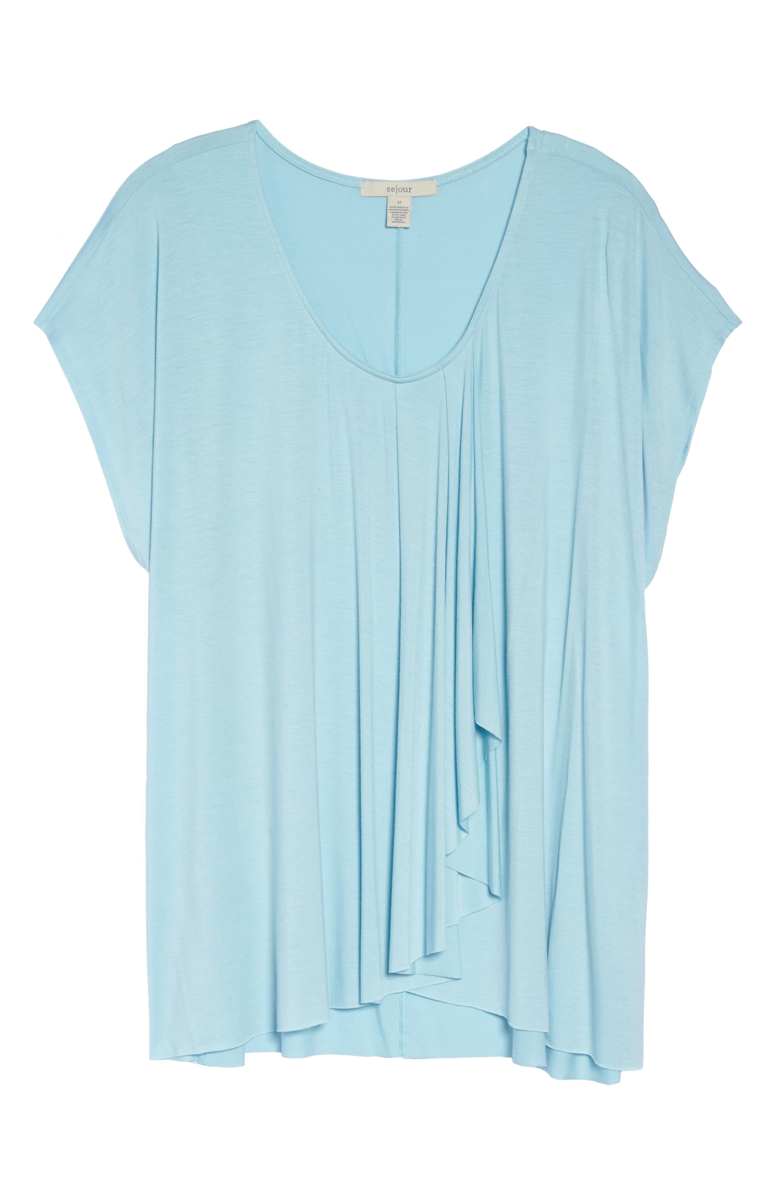 Pleat Front Tee,                             Alternate thumbnail 6, color,                             Blue Crystal