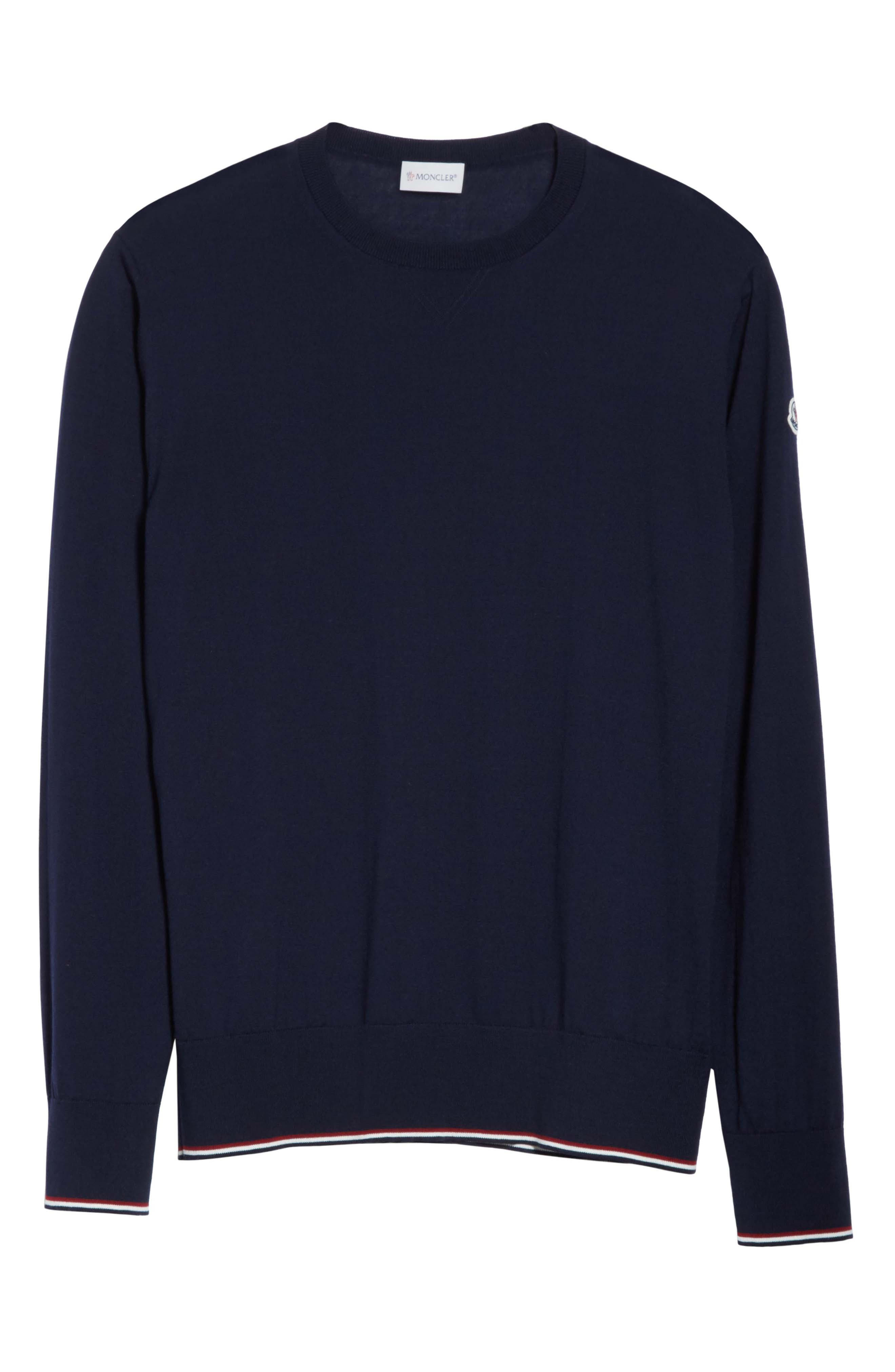 Virgin Wool Crewneck Sweater,                             Alternate thumbnail 6, color,                             Navy