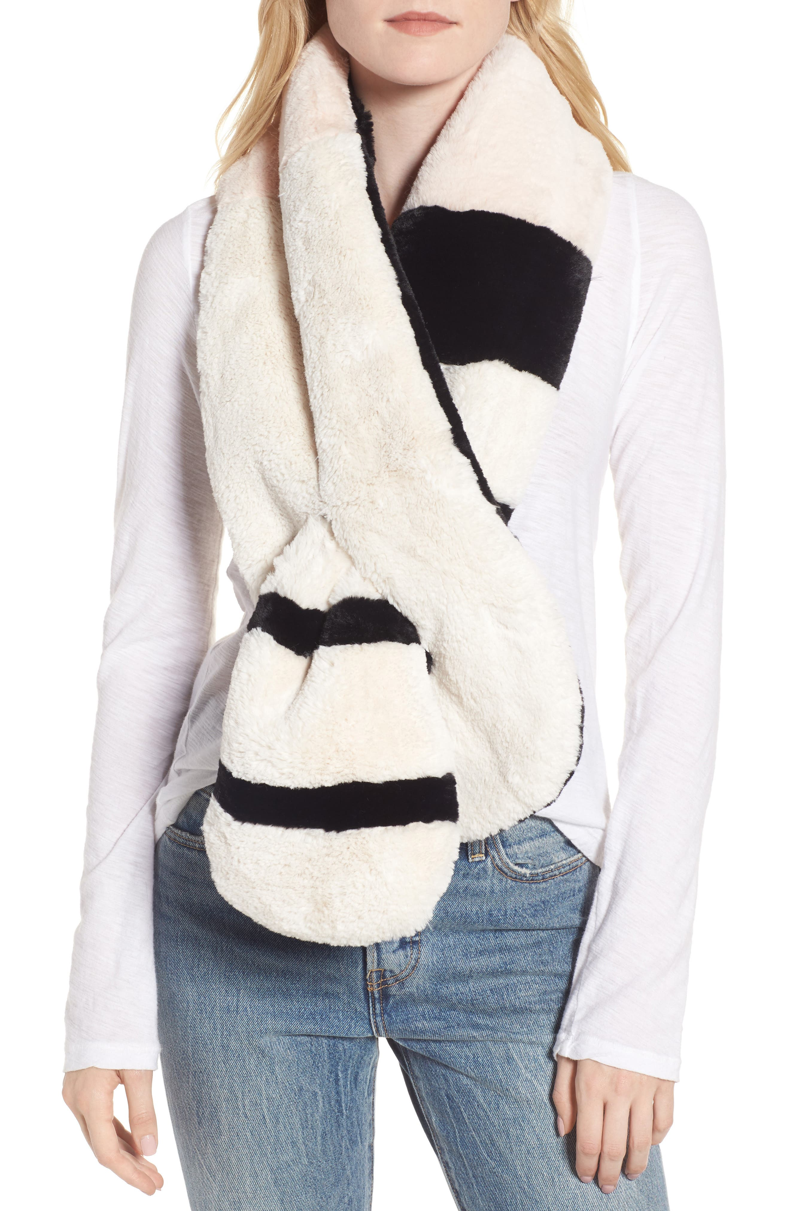 Colorblock Faux Fur Pull Through Scarf,                             Main thumbnail 1, color,                             Pink/ Black/ White