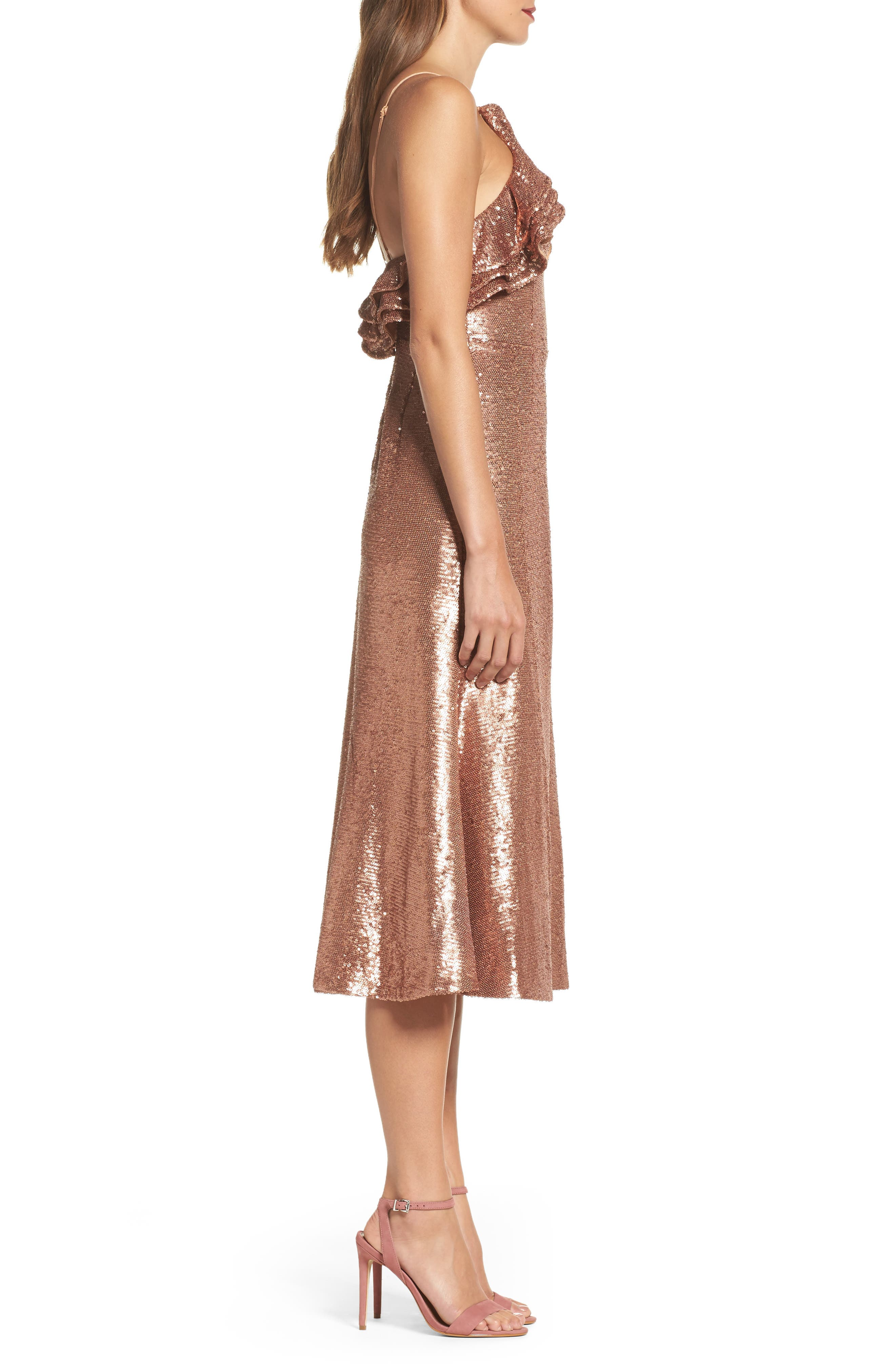 Illuminated Sequin Ruffle Midi Dress,                             Alternate thumbnail 4, color,                             Copper