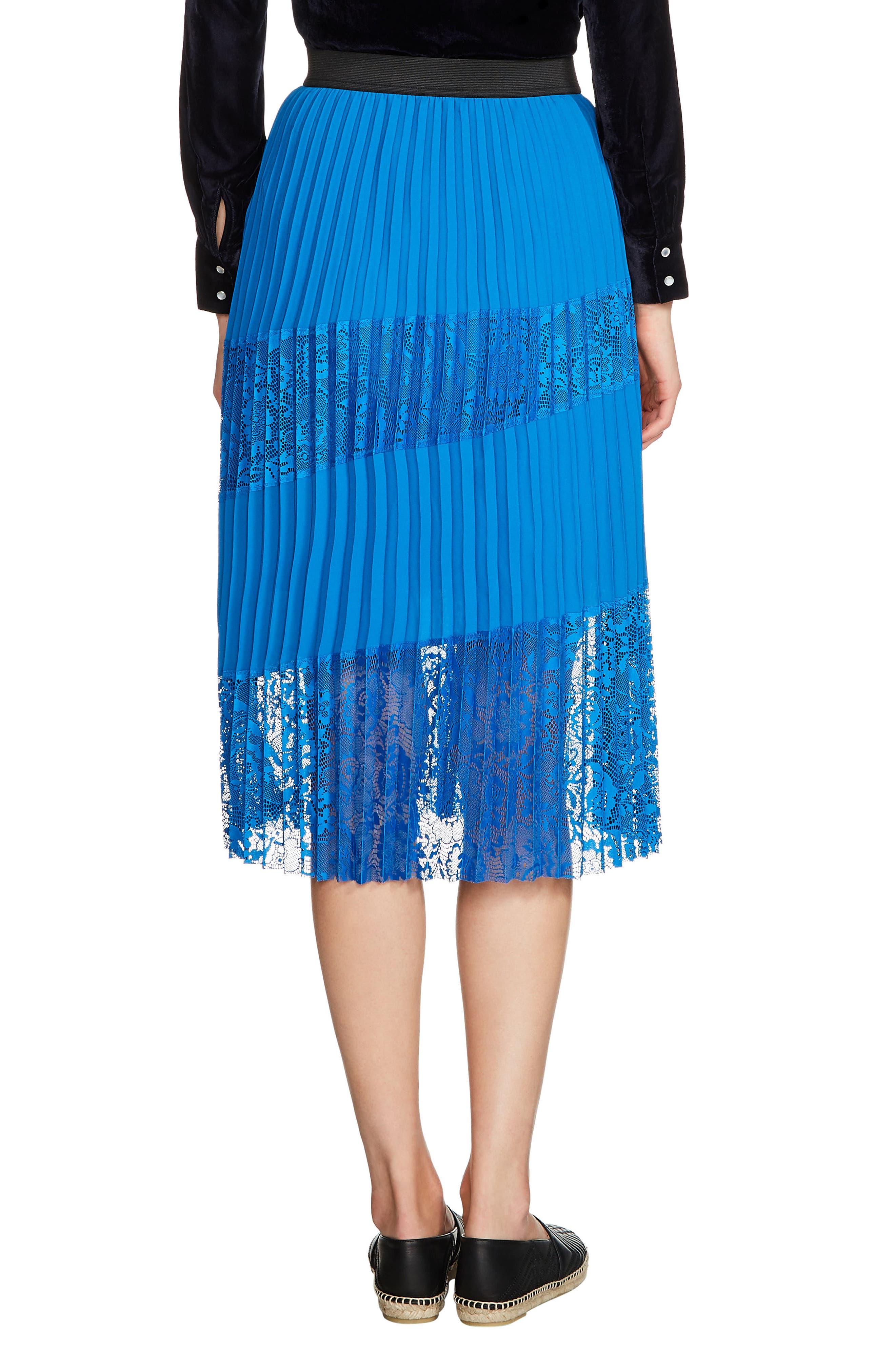Jarane Lace Inset Pleated Midi Skirt,                             Alternate thumbnail 2, color,                             Bleu