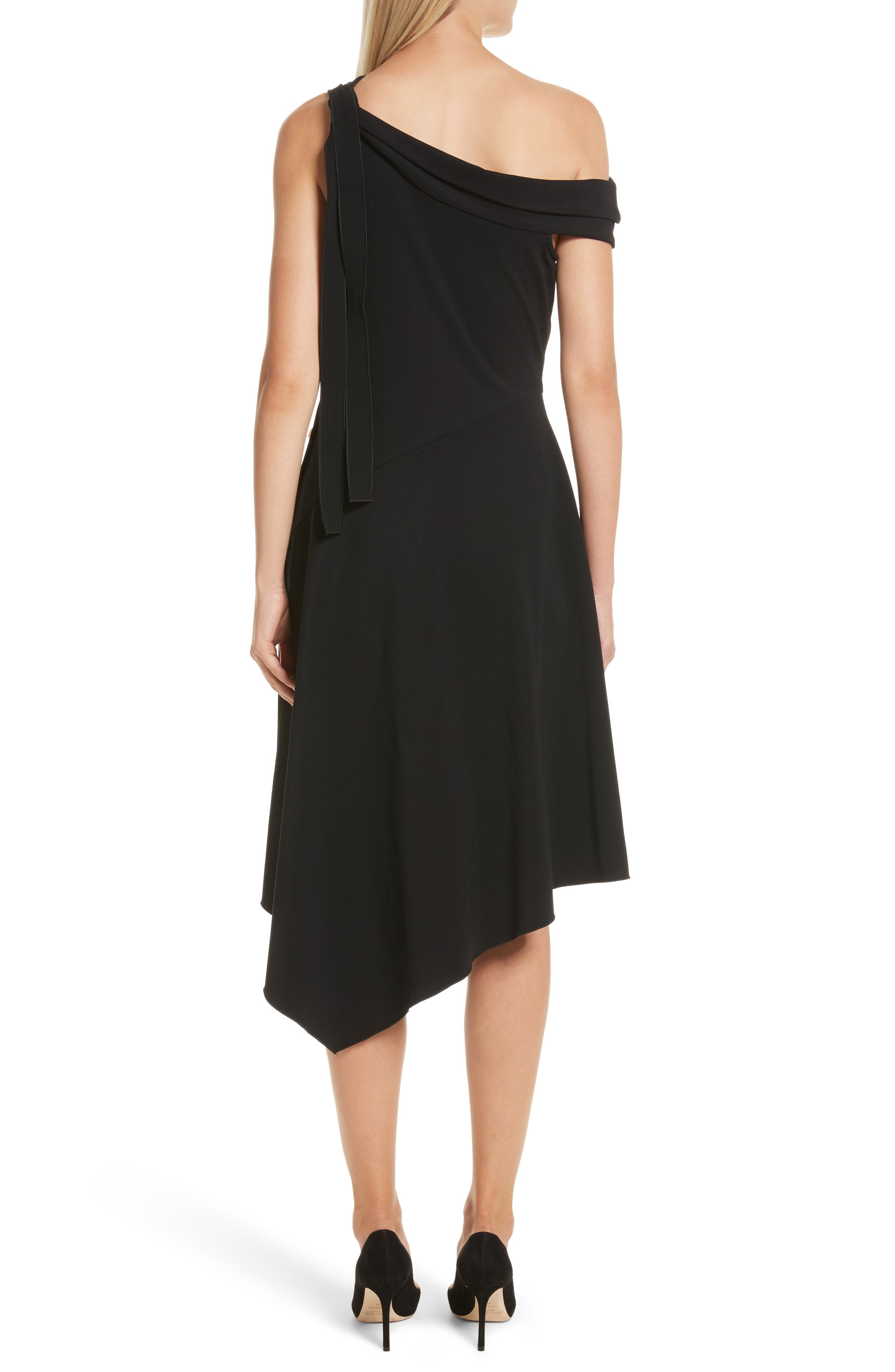 One-Shoulder Midi Dress,                             Alternate thumbnail 2, color,                             Black