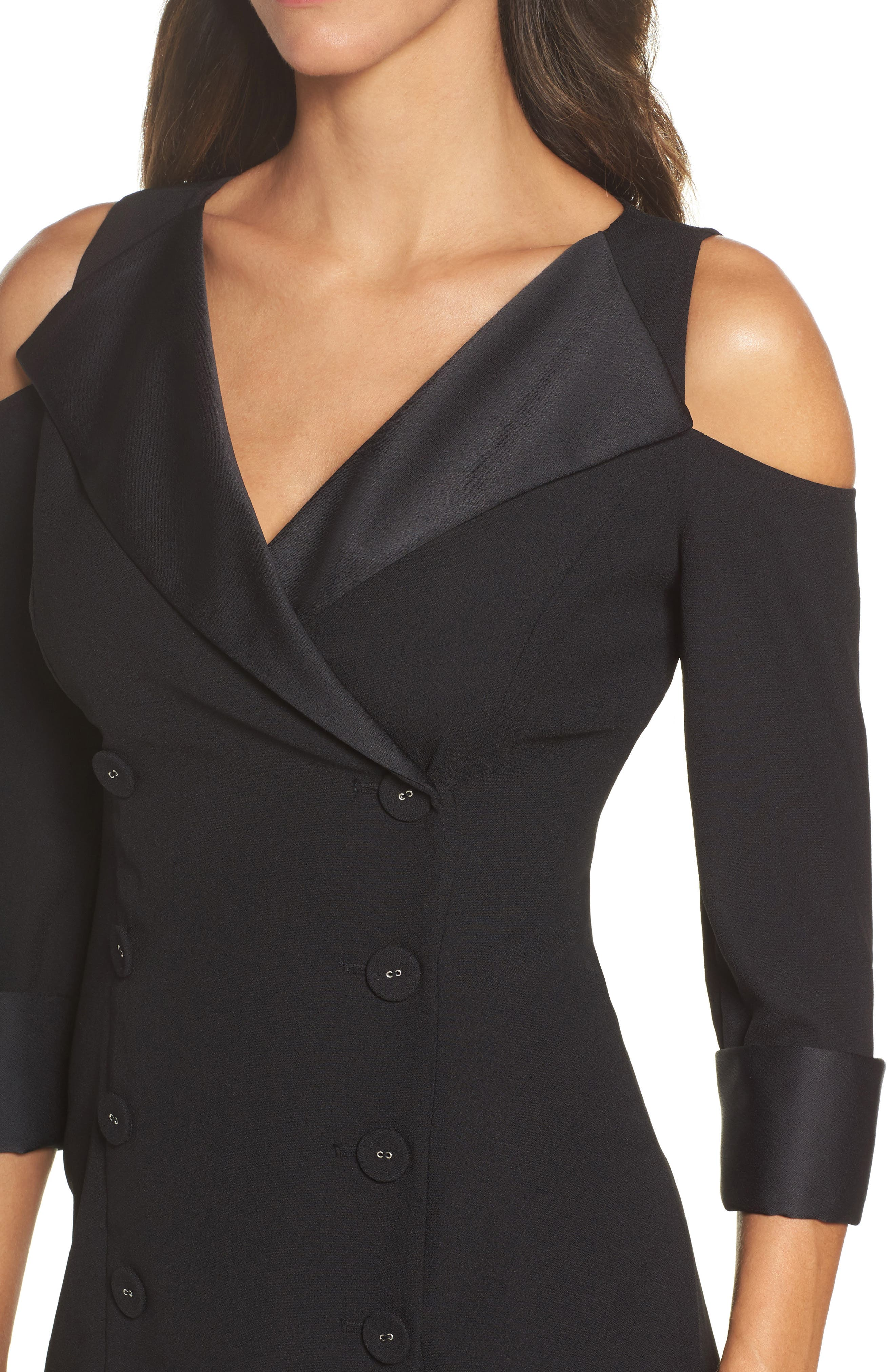 Alternate Image 4  - Adrianna Papell Tuxedo Cold Shoulder Sheath Dress