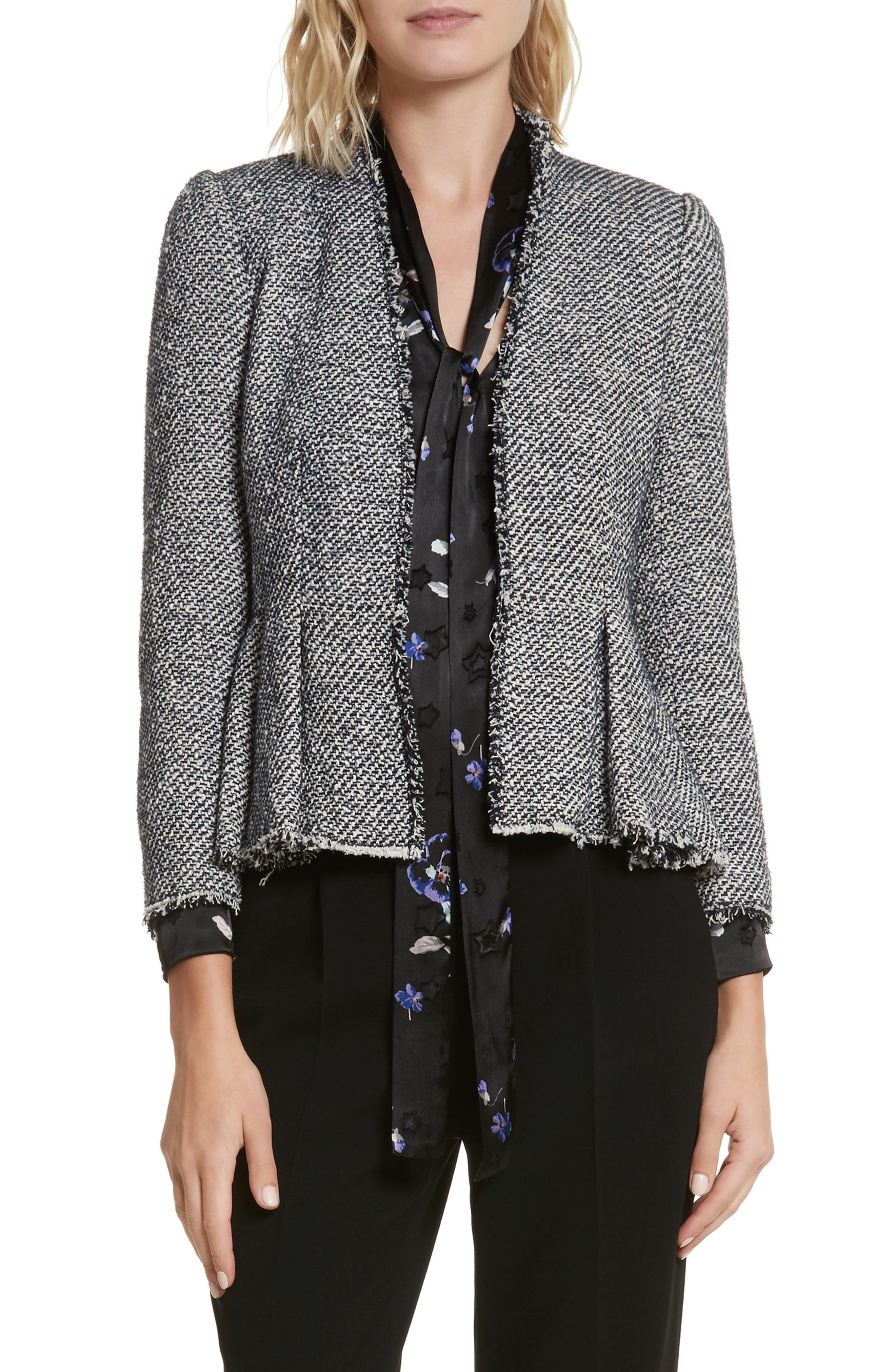Main Image - Rebecca Taylor Metallic Tweed Jacket