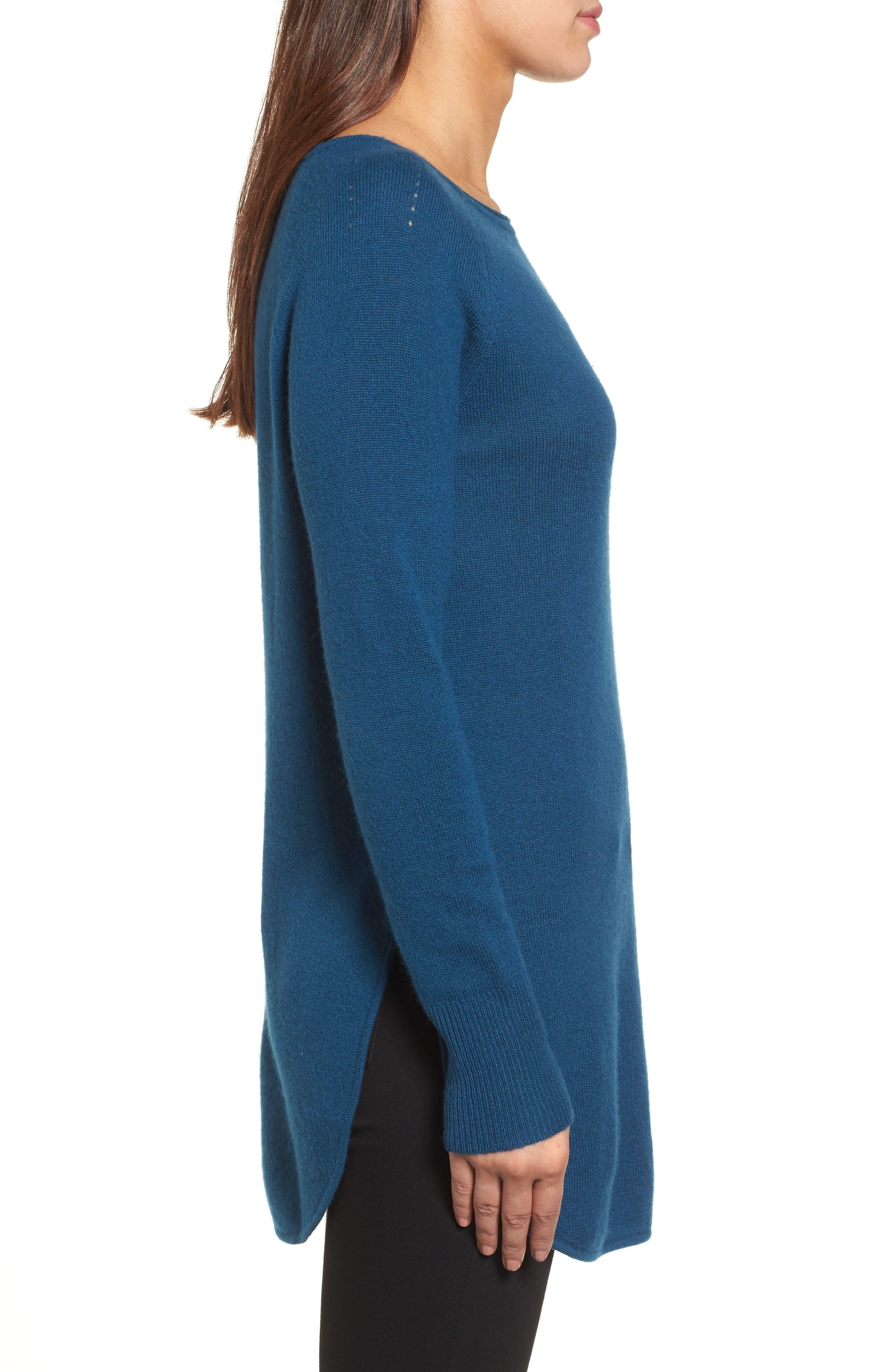 Alternate Image 4  - Halogen® Shirttail Wool & Cashmere Boatneck Tunic (Regular & Petite)