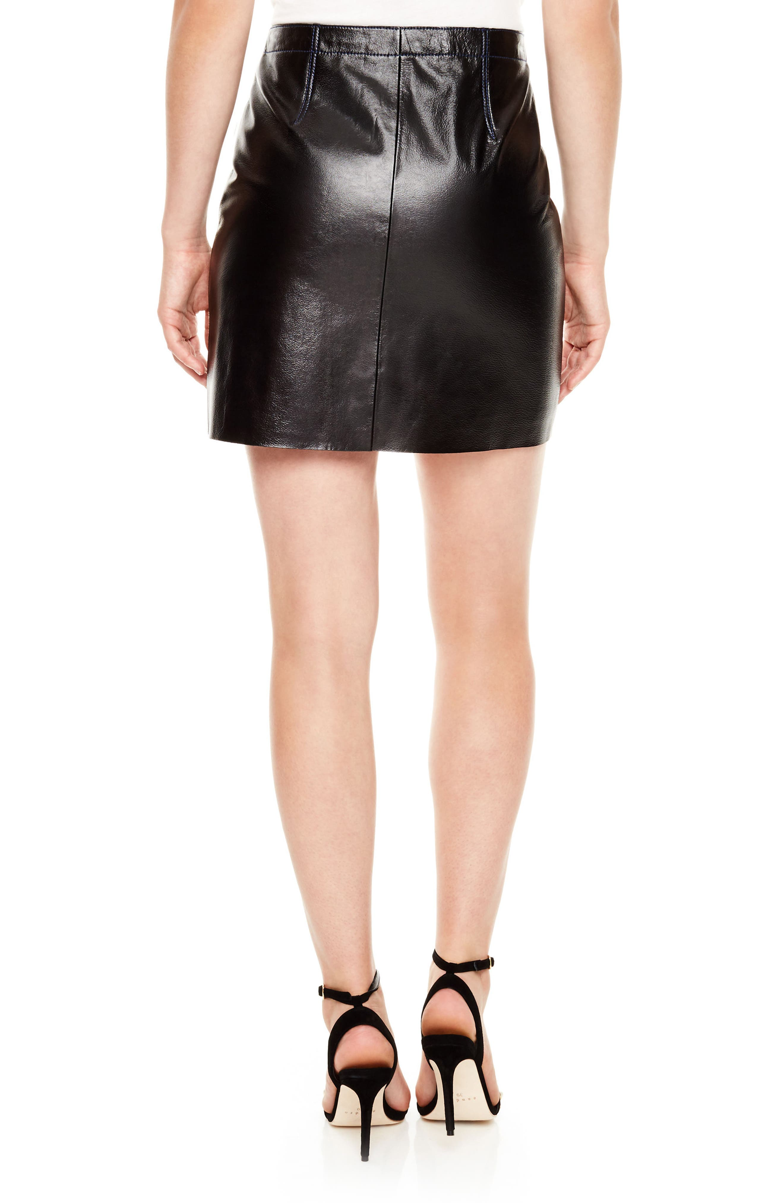 Leather Miniskirt,                             Alternate thumbnail 2, color,                             Black