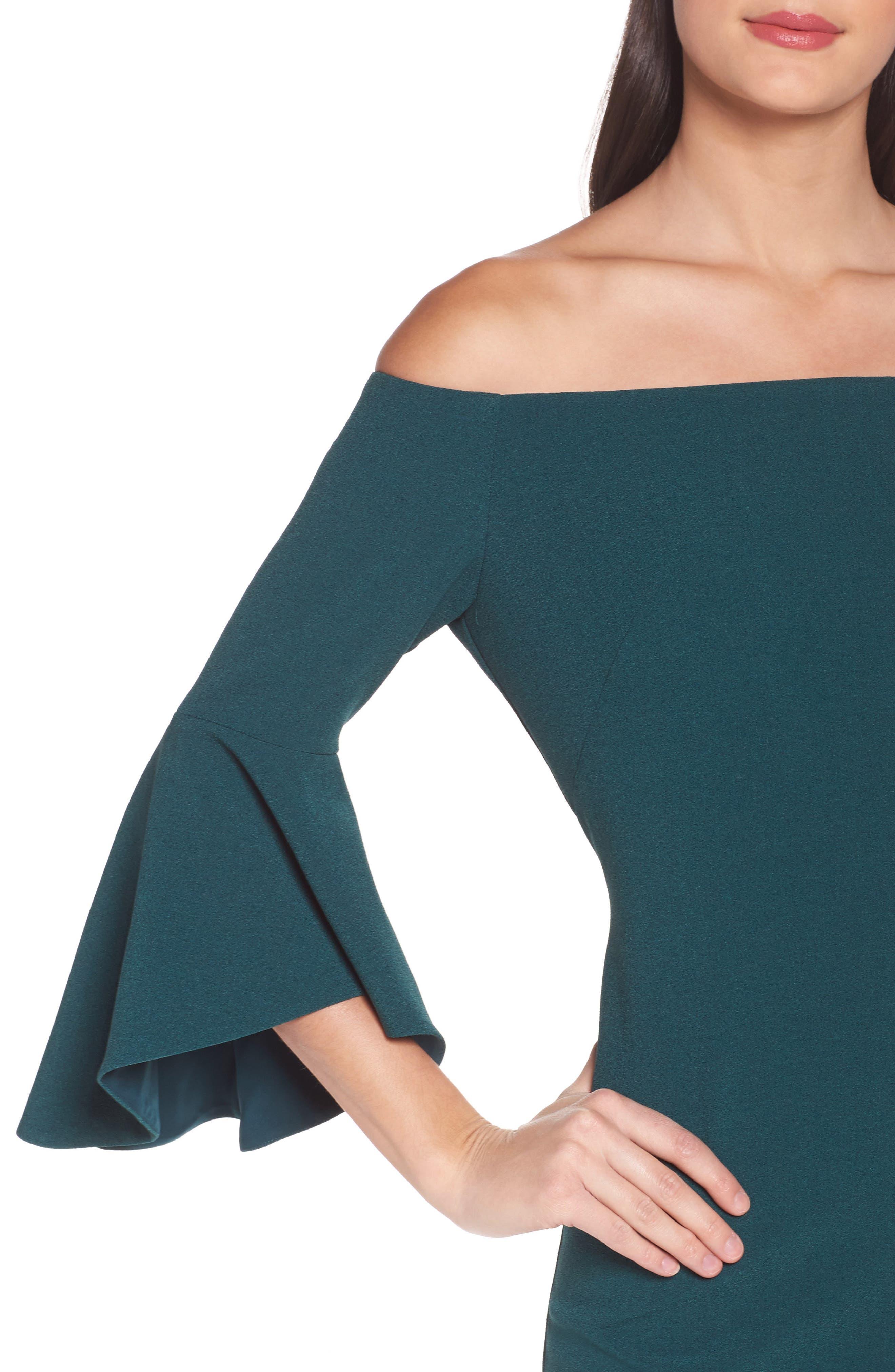 Off the Shoulder Dress,                             Alternate thumbnail 4, color,                             Green Botanical