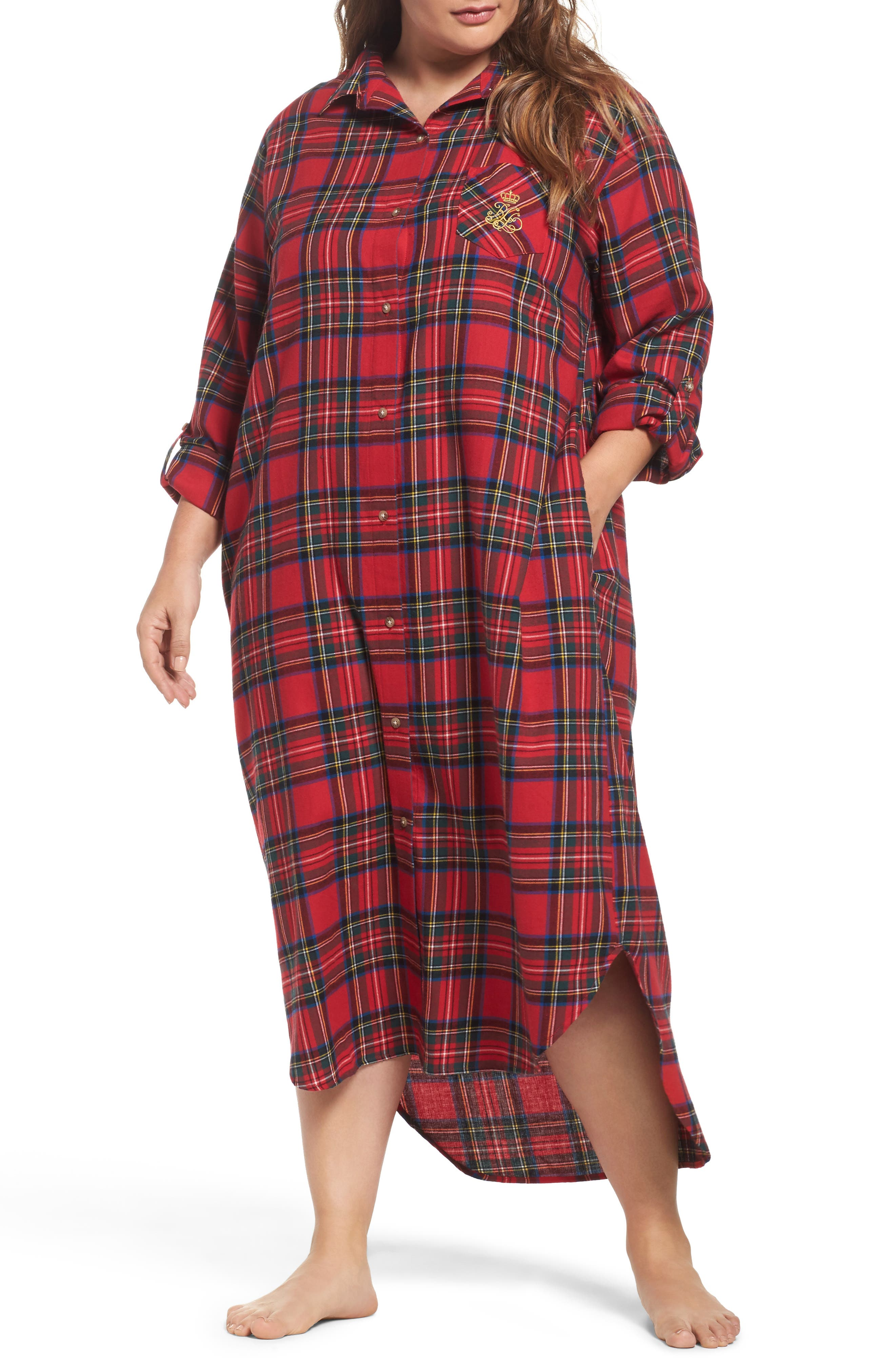Lauren Ralph Lauren Plaid Flannel Sleep Shirt (Plus Size)