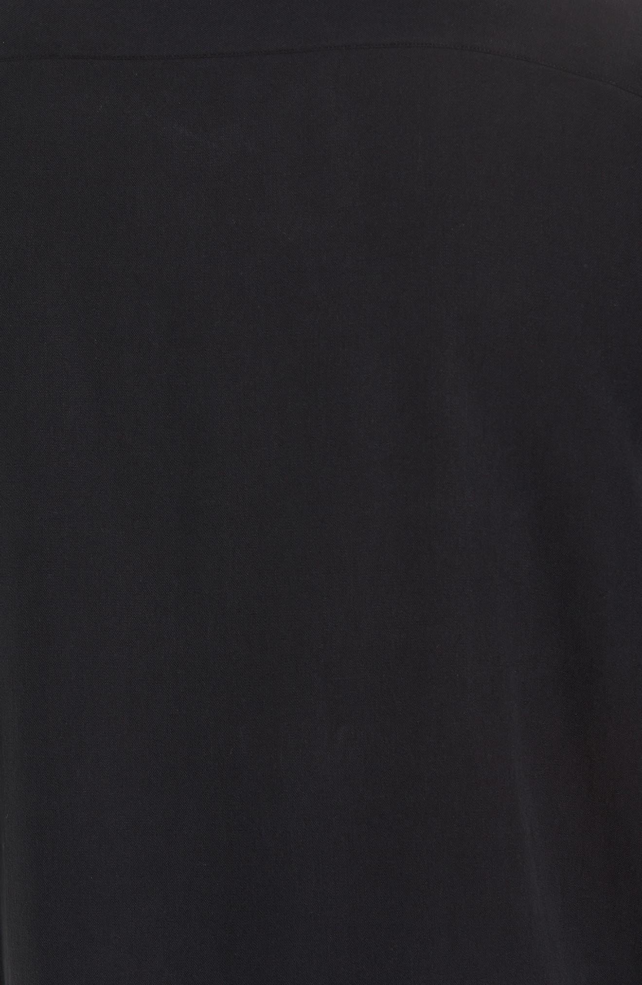 Regular Fit Embroidered Silk Sport Shirt,                             Alternate thumbnail 5, color,                             Black