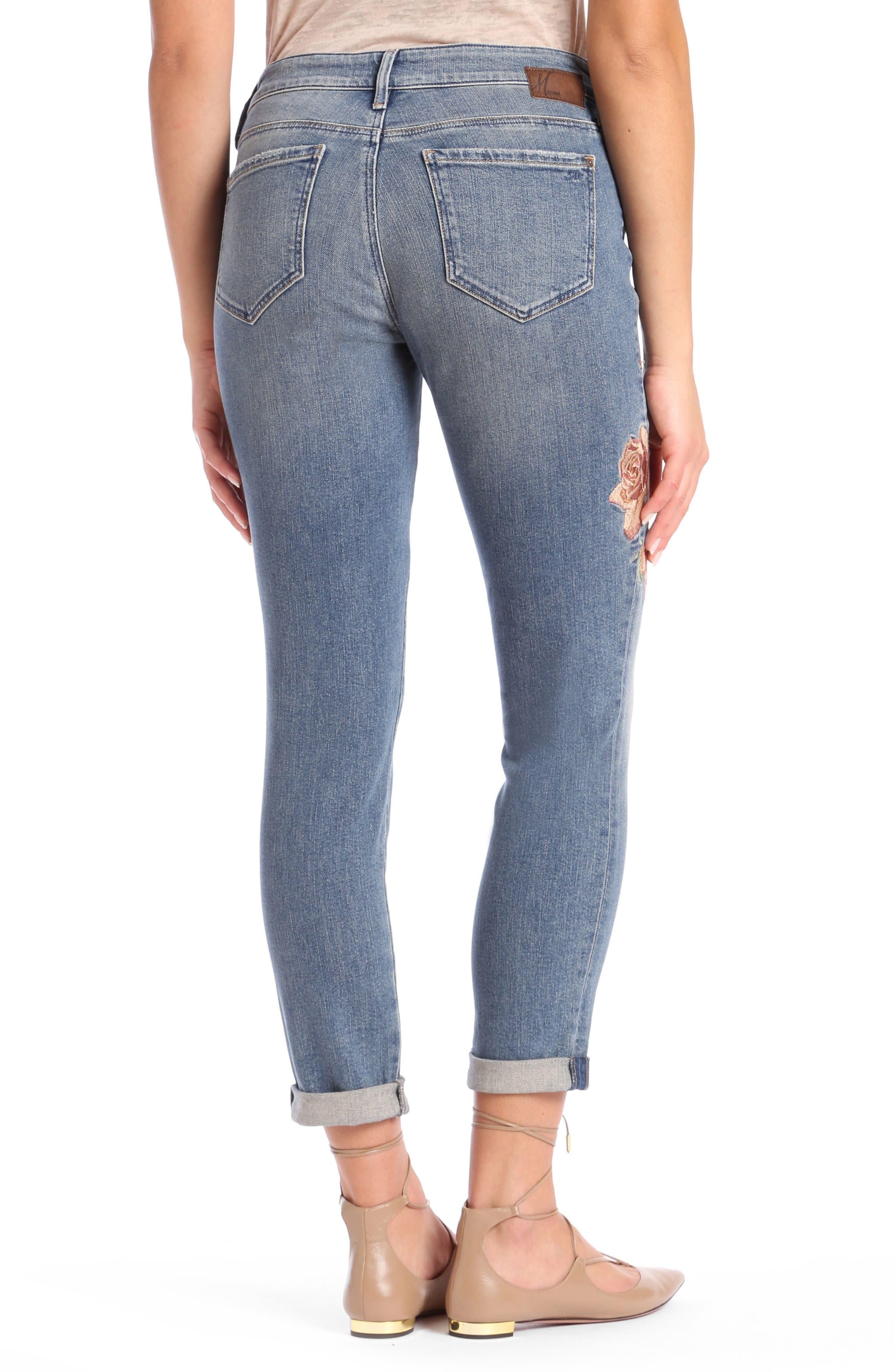 Ada Embroidered Boyfriend Jeans,                             Alternate thumbnail 2, color,                             Mid Rose Embroidery