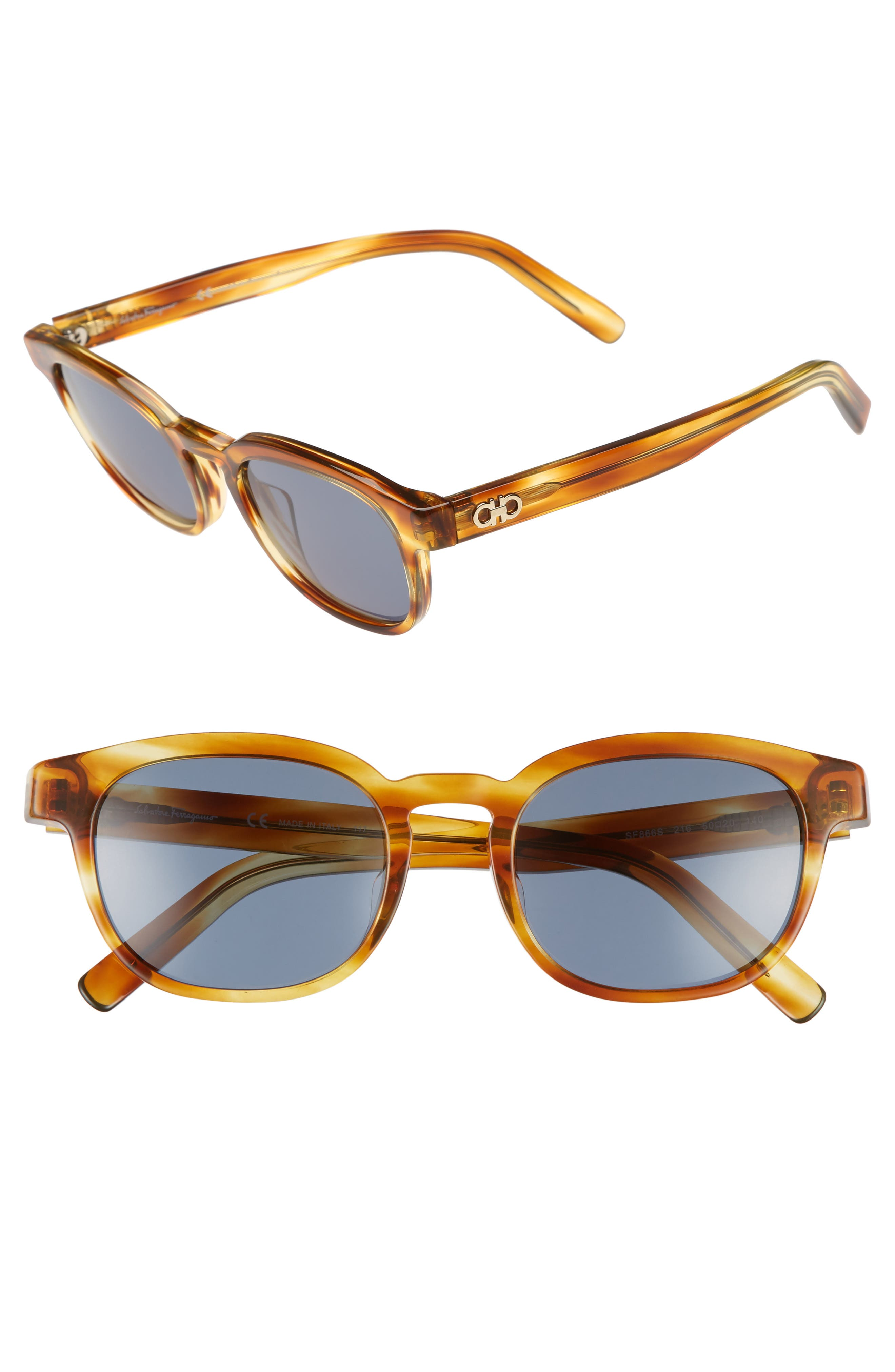 866S 50mm Sunglasses,                         Main,                         color, Striped Brown