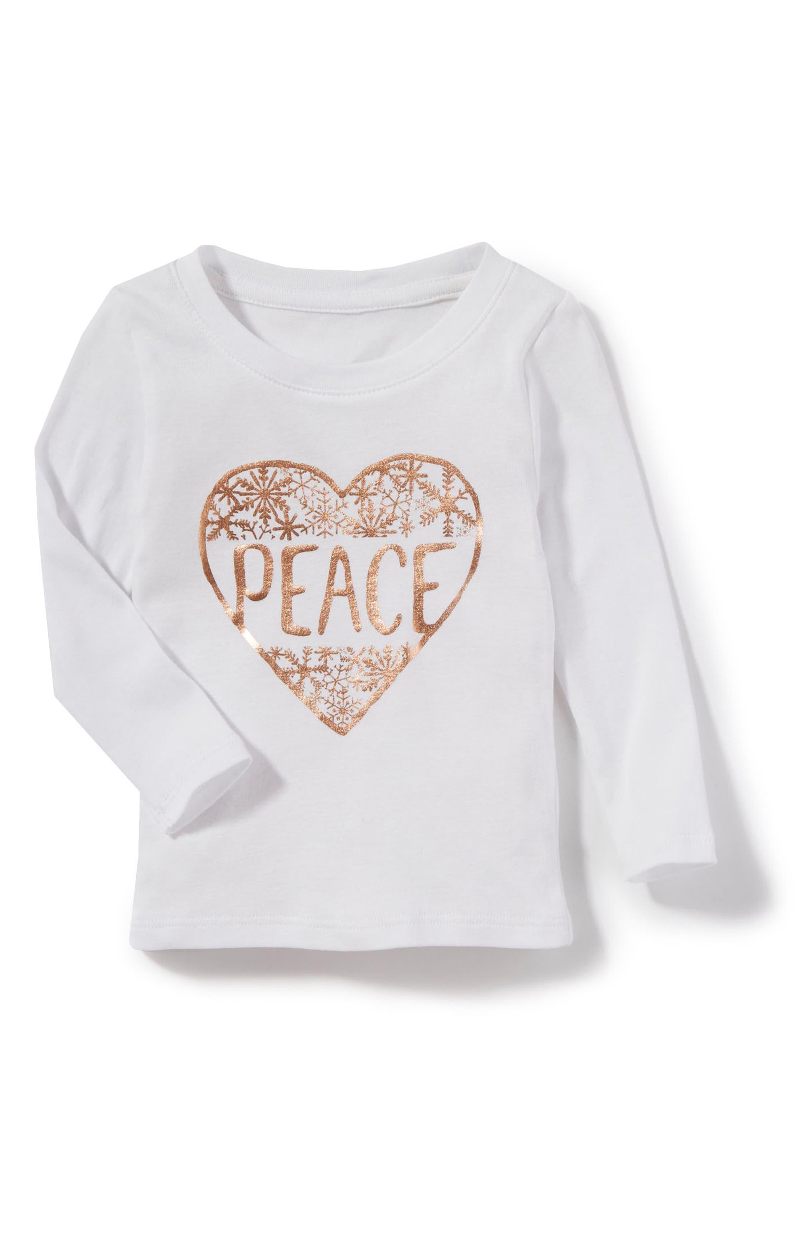 Peek Peace Graphic Tee,                         Main,                         color, White
