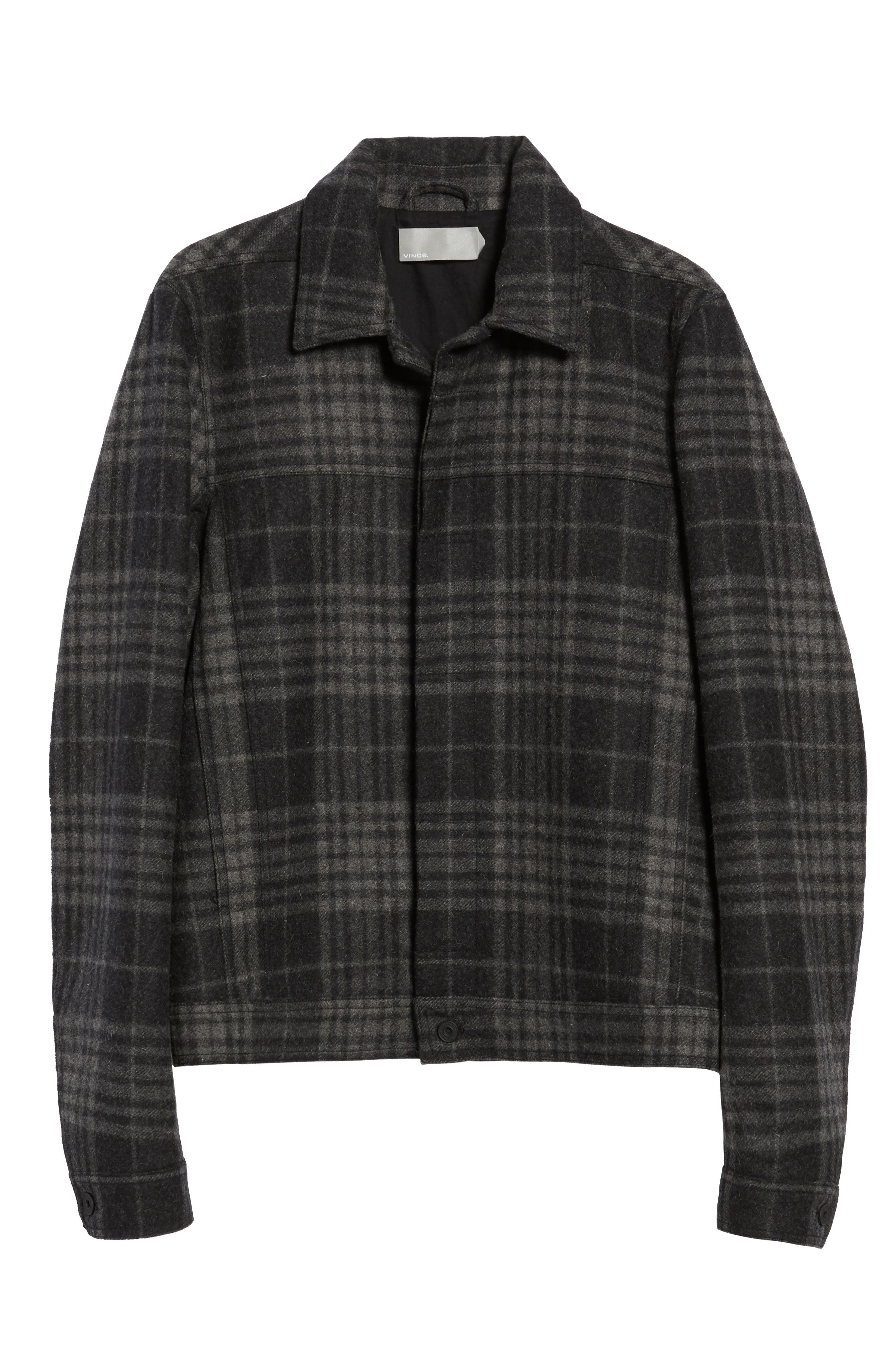 Plaid Trucker Jacket,                             Alternate thumbnail 7, color,                             Charcoal