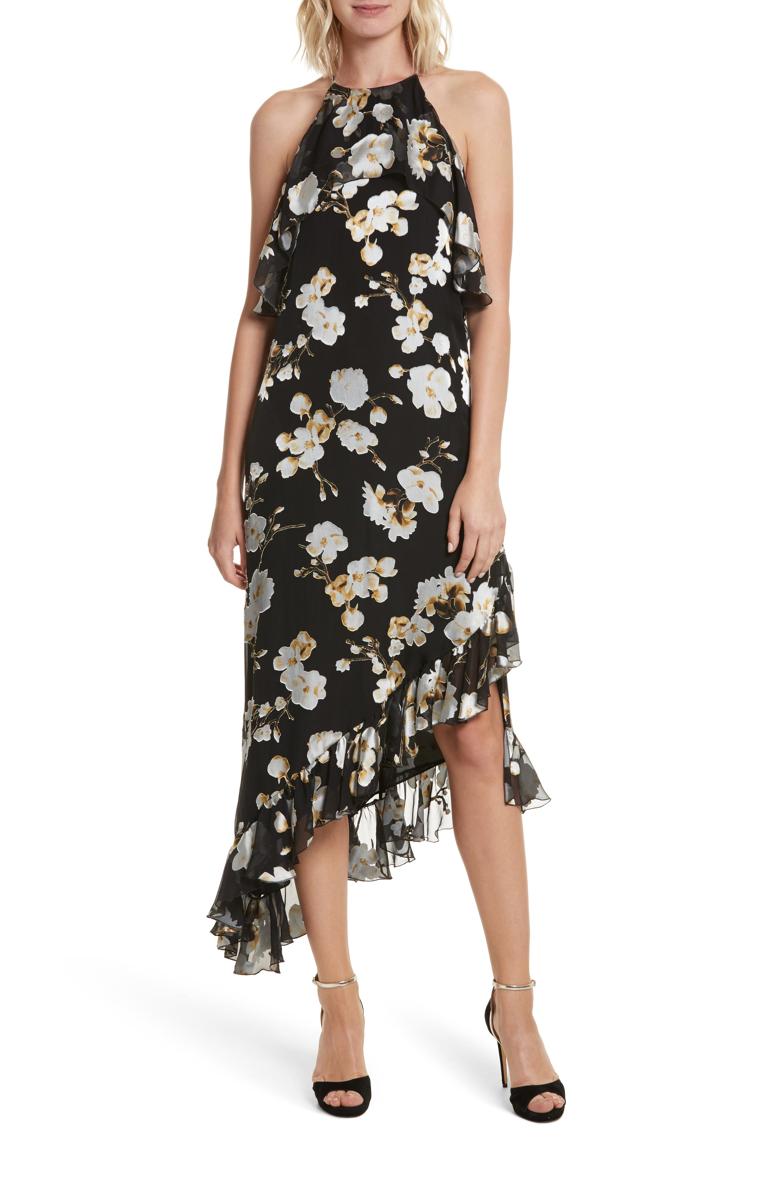 Fabiola Asymmetrical Ruffle A-Line Dress,                         Main,                         color, Holiday Blossom/ Black