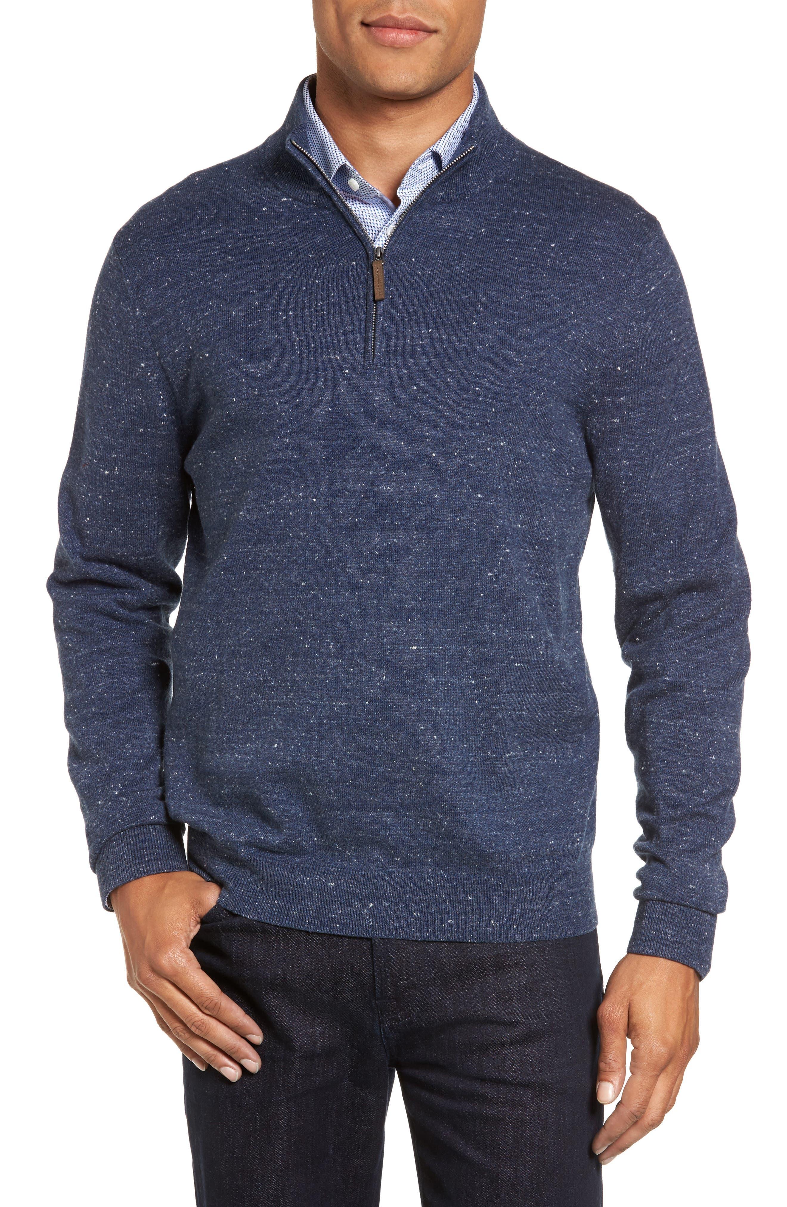 Quarter Zip Sweater,                         Main,                         color, Blue Twilight Marl