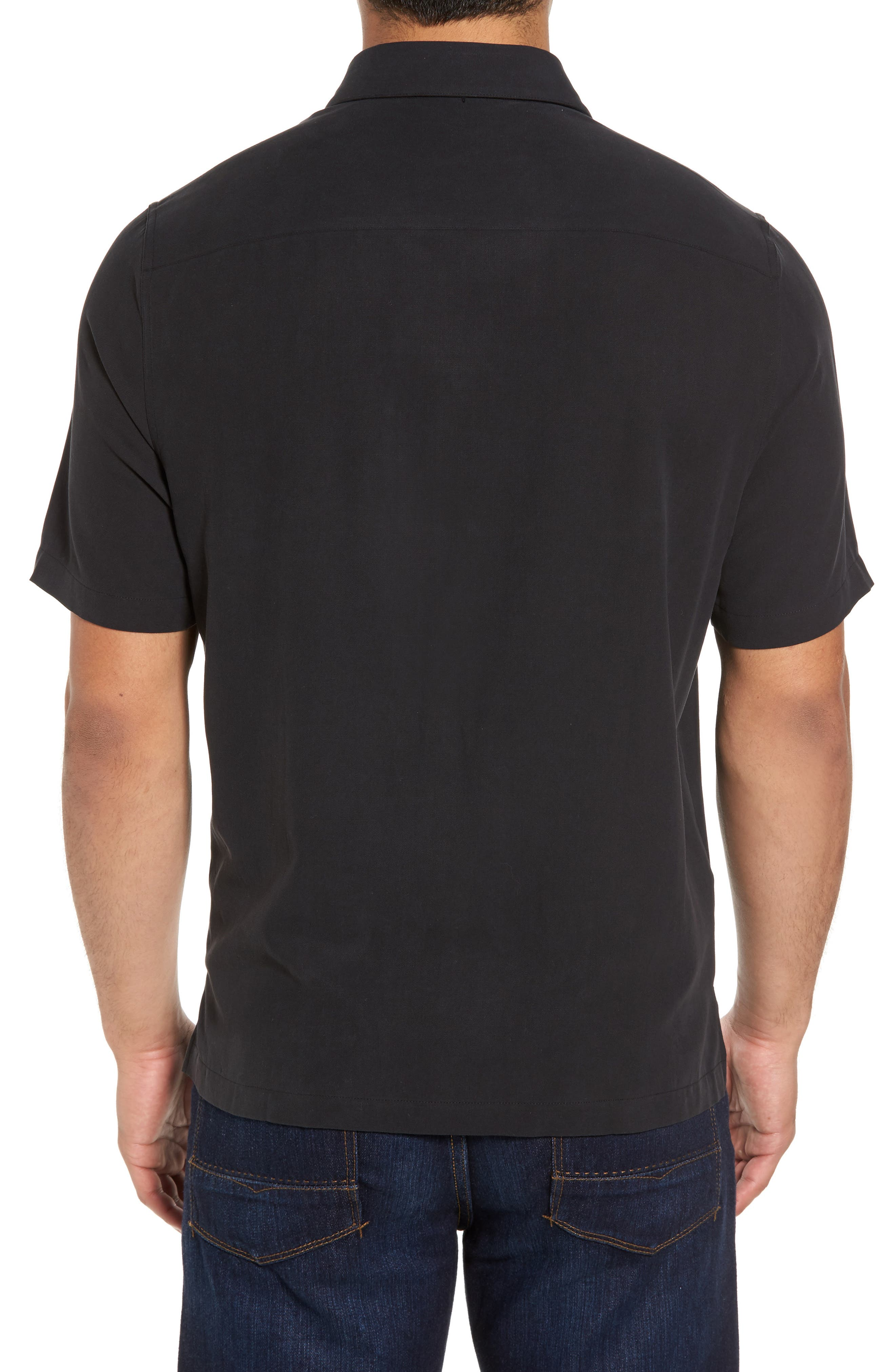 Black Diamond Regular Fit Embroidered Silk Blend Sport Shirt,                             Alternate thumbnail 2, color,                             Black