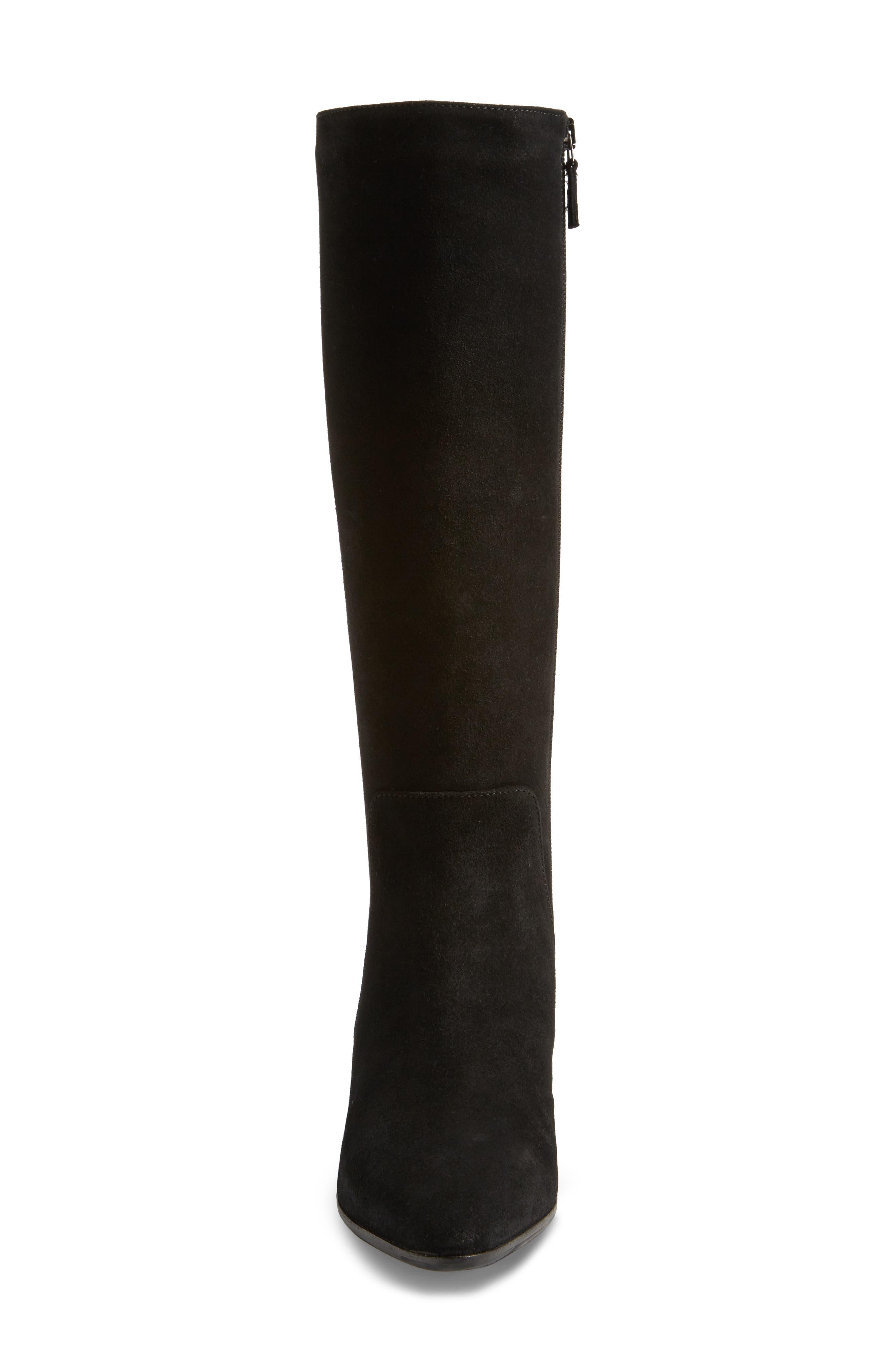 Federica Weatherproof Knee High Boot,                             Alternate thumbnail 4, color,                             Black Suede