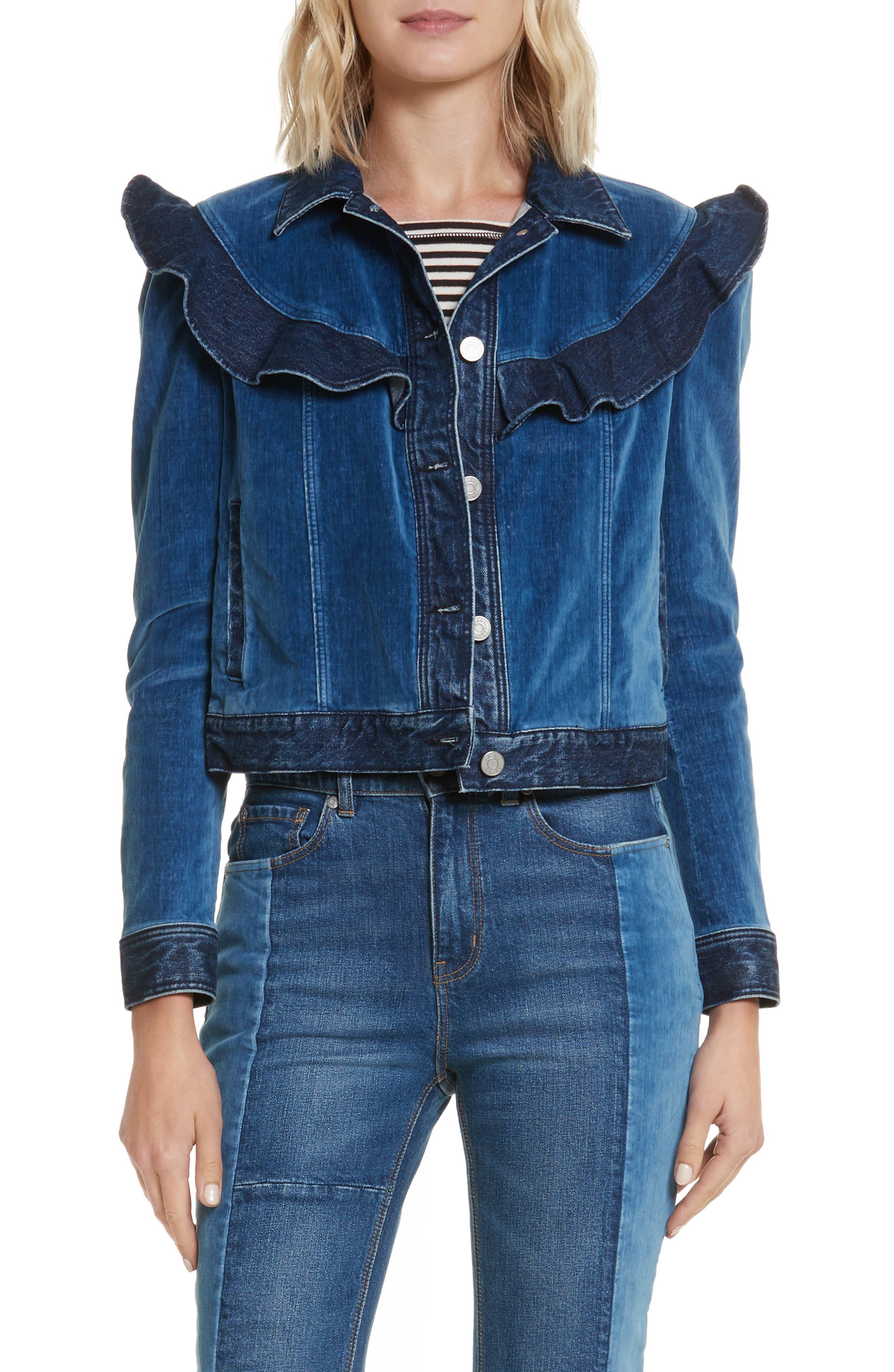 Velvet Denim Jacket,                         Main,                         color, Dark Blueprint Patch Wash
