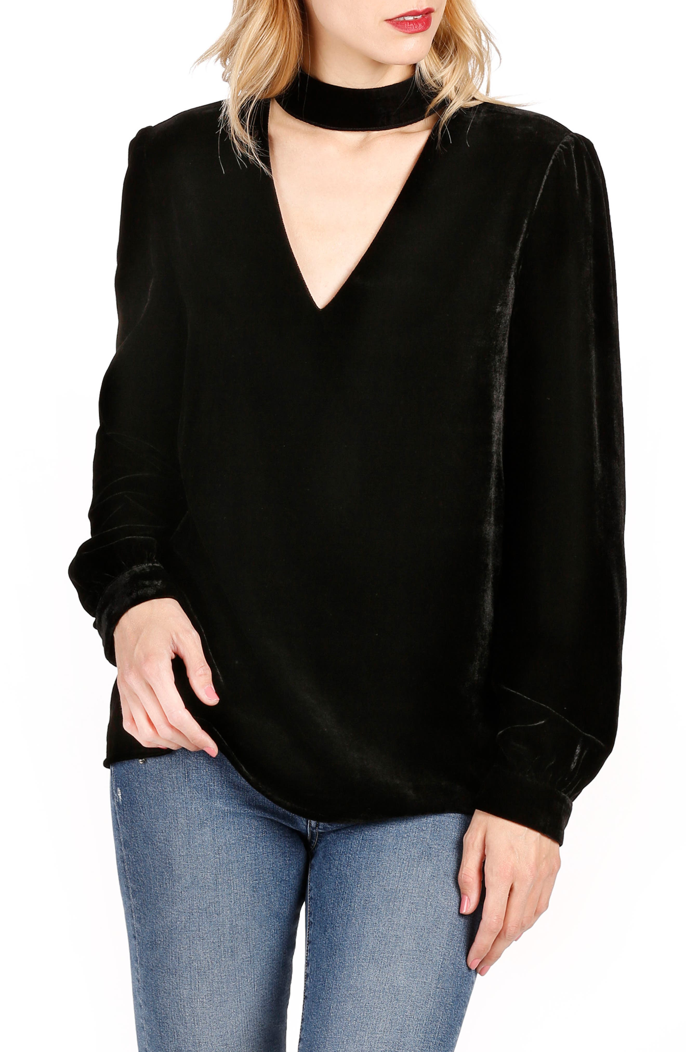 Tamar Velvet Choker Blouse,                         Main,                         color, Black