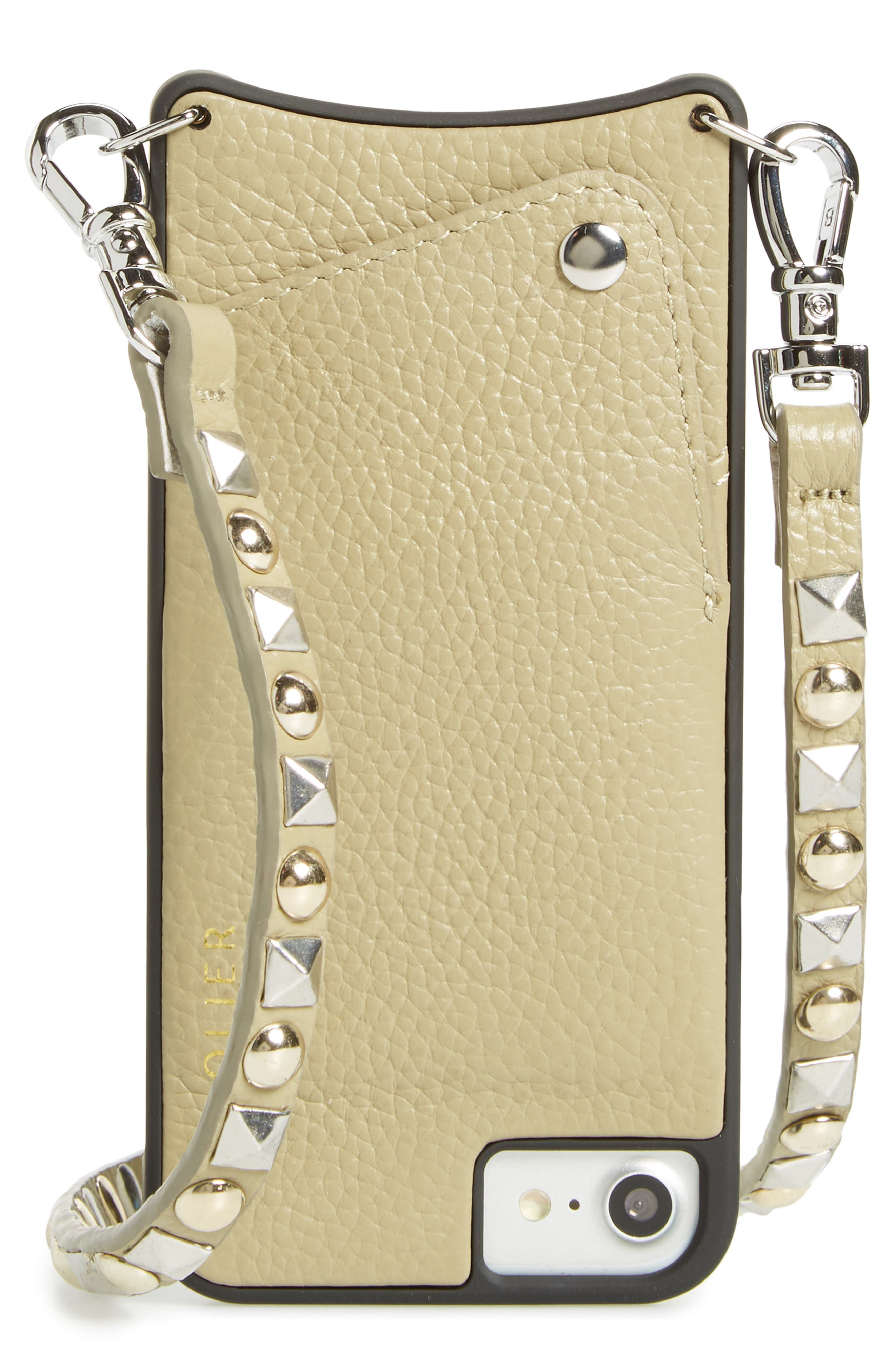 Stella iPhone 6/7/8 & 6/7/8 Plus Leather Crossbody Case,                             Main thumbnail 1, color,                             Pebble/ Gold/ Silver