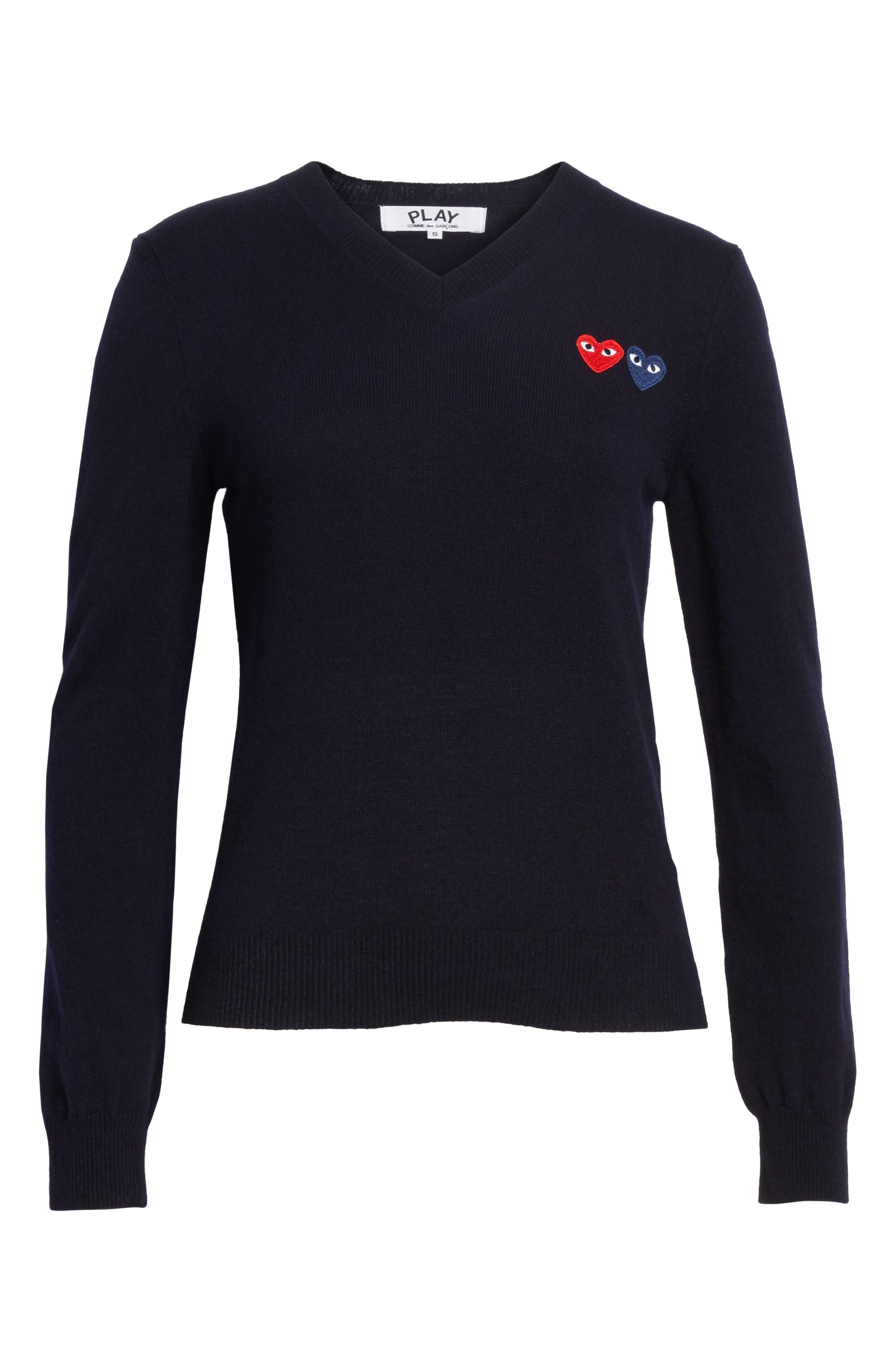 Alternate Image 6  - Comme des Garçons PLAY Double Heart Wool Sweater
