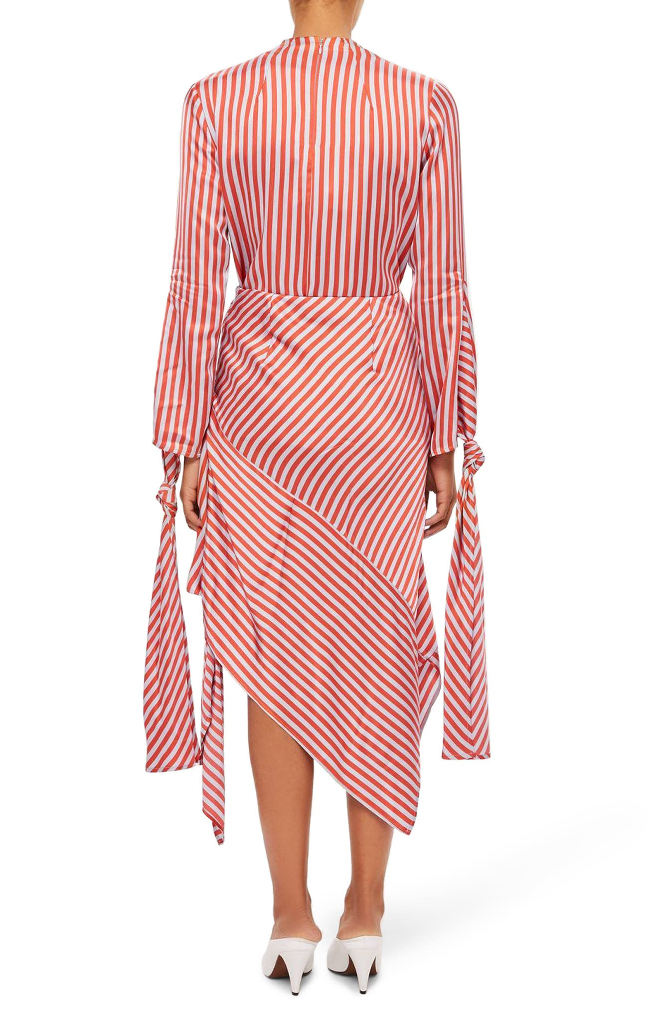 Stripe Knot Midi Skirt,                             Alternate thumbnail 2, color,                             Red Multi