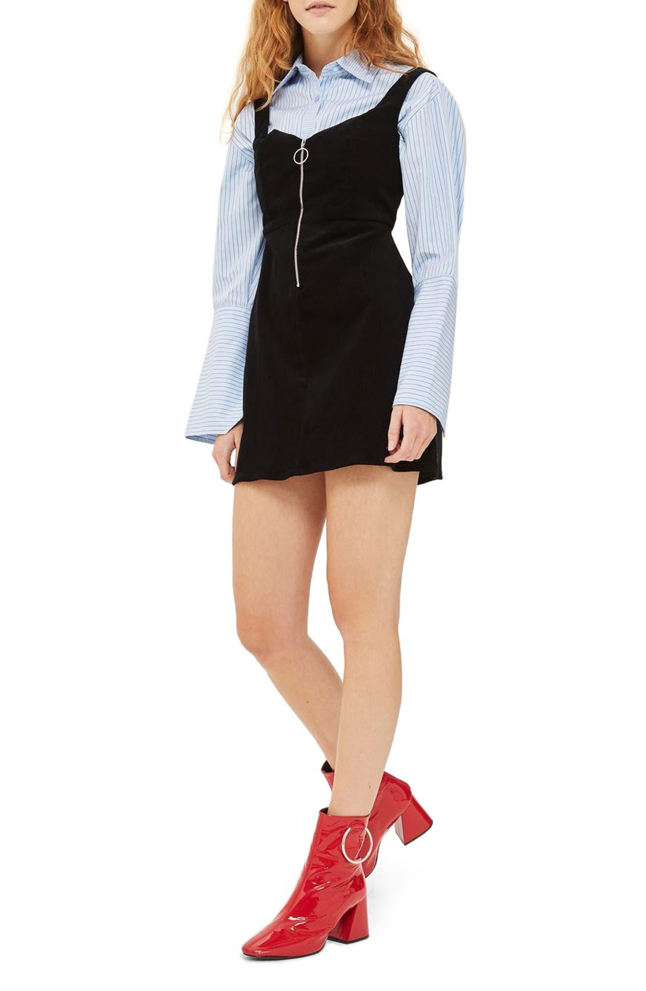 Corduroy Pinafore Minidress,                         Main,                         color, Black